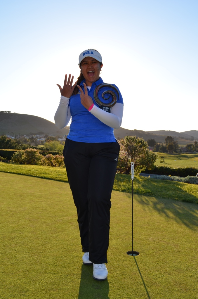 """Lilia Vu Courtesy of UCLA Athletics. The one with her holding the trophy and flashing a """"7"""" sign is from her latest win at Bruin Wave Invitational"""