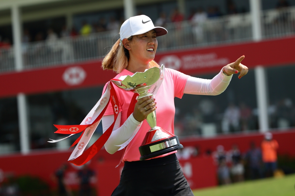 SINGAPORE - MARCH 04: Michelle Wie of the United States of America wins the 2018 HSBC Women's World Championship at Sentosa Golf Club on March 4, 2018 in Singapore. (Photo by Suhaimi Abdullah/Getty Images)