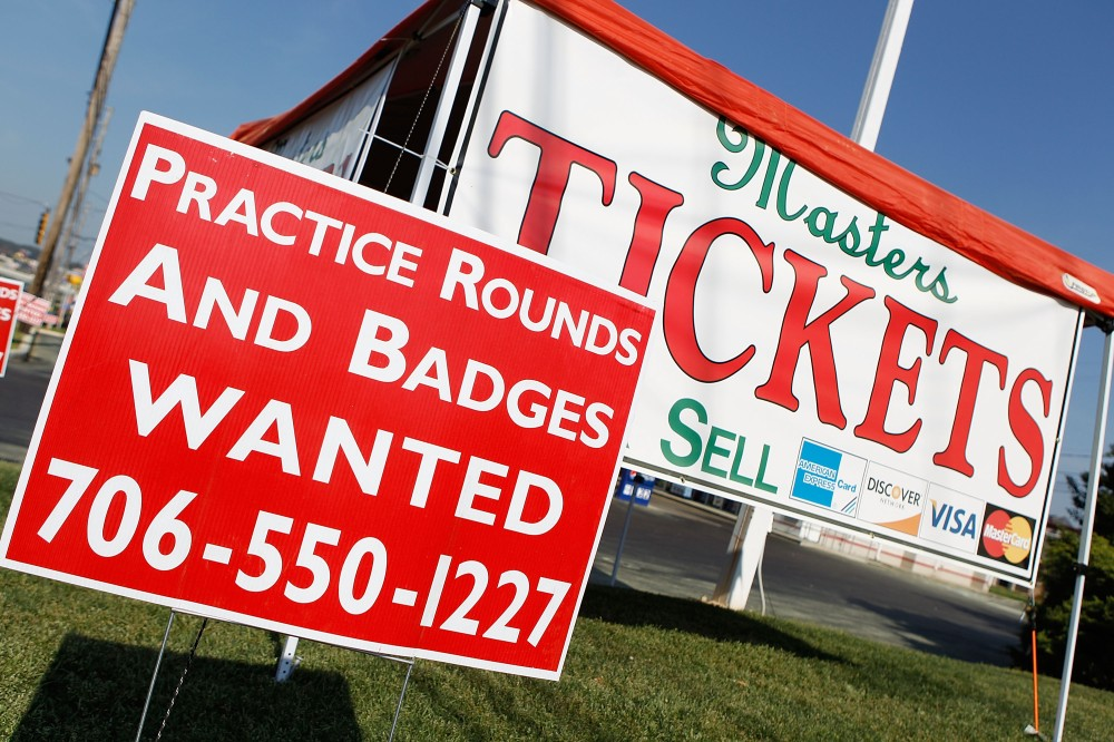 AUGUSTA, GA - APRIL 04: Tickets scalpers look for badges along Washington Road in front of Augusta National Golf Club before the Masters on April 4, 2010 in Augusta, Georgia. (Photo by Scott Halleran/Getty Images)