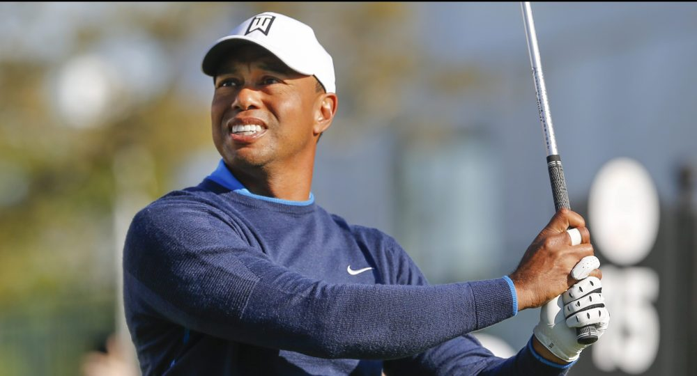 Mar 15, 2018; Orlando, FL, USA; Tiger Woods hits his tee shot on the 15th hole during the first round of the Arnold Palmer Invitational golf tournament at Bay Hill Club & Lodge. Mandatory Credit: Reinhold Matay-USA TODAY Sports