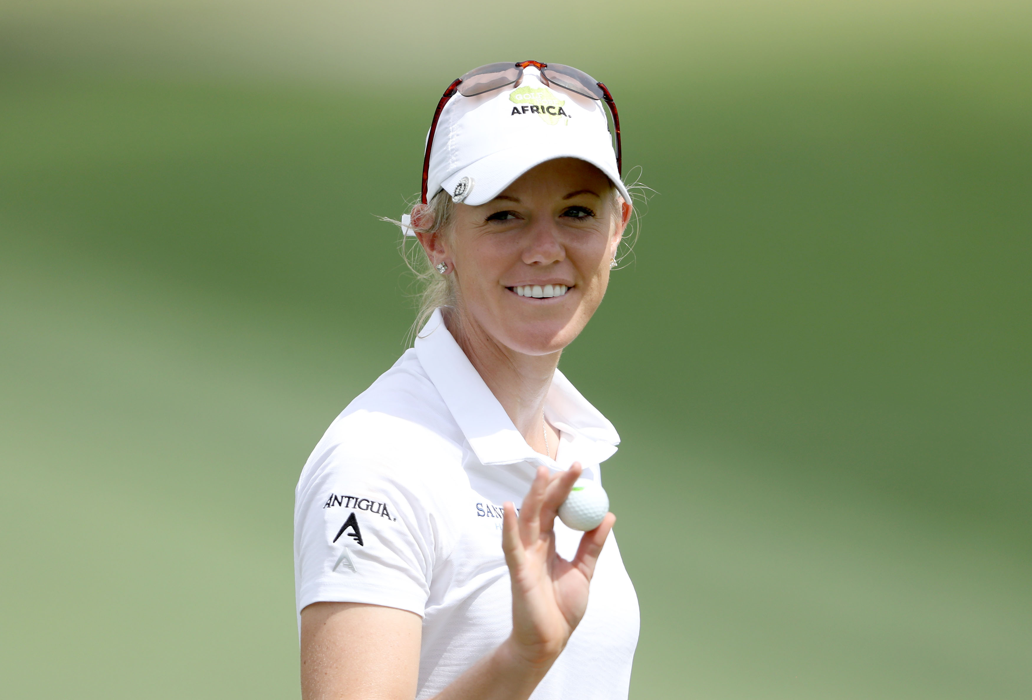 RANCHO MIRAGE, CA - MARCH 31: Amy Olson of the United States acknowledges the crowd after making a birdie putt on the par 4, first hole during the third round of the 2018 ANA Inspiration on the Dinah Shore Tournament Course at Mission Hills Country Club on March 31, 2018 in Rancho Mirage, California. (Photo by David Cannon/Getty Images)