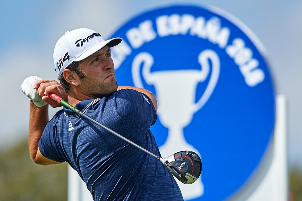 MADRID, SPAIN - APRIL 14: Jon Rahm of Spain tees off during day three of Open de Espana at Centro Nacional de Golf on April 14, 2018 in Madrid, Spain. (Photo by Quality Sport Images/Getty Images)