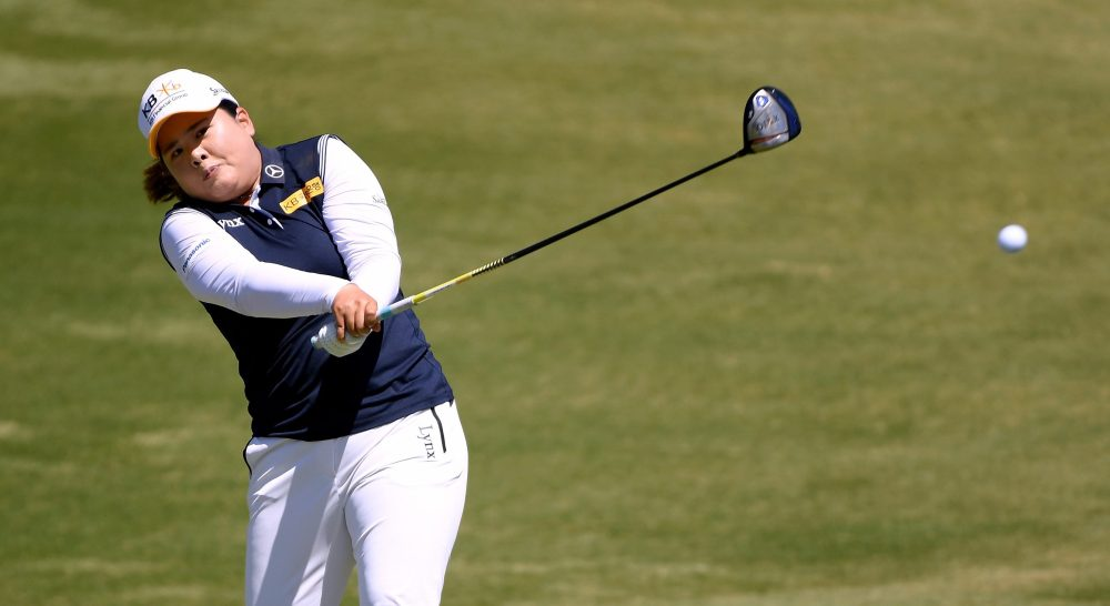 LOS ANGELES, CA - APRIL 22: Inbee Park of South Korea hits a tee shot on the sixth hole during round four of the Hugel-JTBC Championship at the Wilshire Country Club on April 22, 2018 in Los Angeles, California. (Photo by Harry How/Getty Images)
