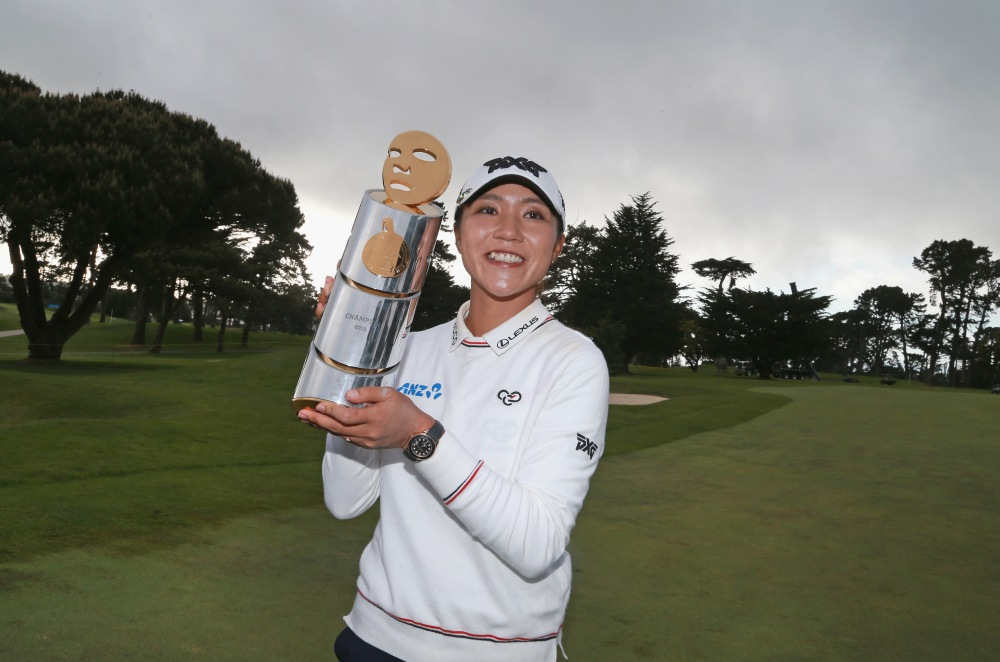 DALY CITY, CA - APRIL 29: Lydia Ko of New Zealand poses with the trophy after winning the Mediheal Championship at Lake Merced Golf Club on April 29, 2018 in Daly City, California. (Photo by Matt Sullivan/Getty Images)