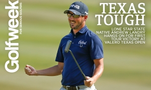 SAN ANTONIO, TX - APRIL 22: Andrew Landry celebrates on the 18th green after winning the Valero Texas Open at TPC San Antonio AT&T Oaks Course on April 22, 2018 in San Antonio, Texas. (Photo by Michael Reaves/Getty Images)