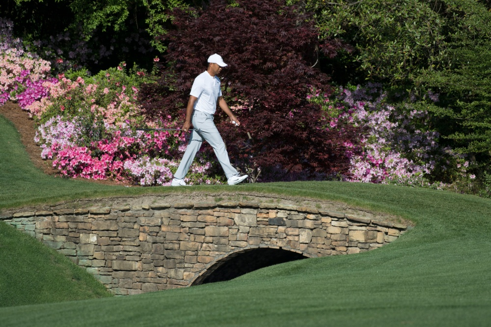 Apr 3, 2018; Augusta, GA, USA; Tiger Woods walks to the 14th tee during a practice round for the Masters golf tournament at Augusta National GC. Mandatory Credit: Michael Madrid-USA TODAY Sports