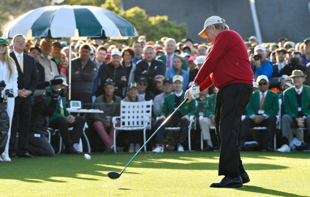Apr 5, 2018; Augusta, GA, USA; Jack Nicklaus hits his ceremonial tee shot on the 1st hole during the first round of the Masters golf tournament at Augusta National GC. Mandatory Credit: Michael Madrid-USA TODAY Sports