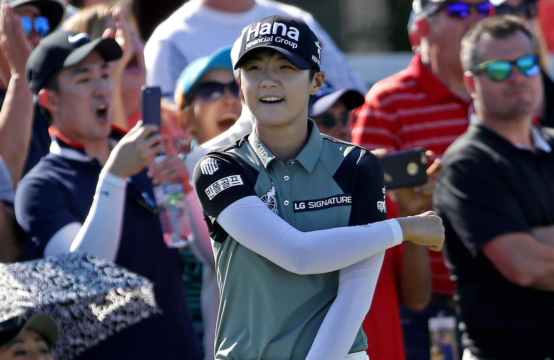 Sung Hyun Park, of South Korea, celebrates after she hit the ball in on the 18th green during the LPGA tour Volunteers of America Texas Shootout golf tournament in The Colony, Texas, Sunday, May 6, 2018. (Jae S. Lee/The Dallas Morning News via AP)