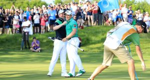 ST ALBANS, ENGLAND - MAY 06: Paul Dunne of Ireland and Gavin Moynihan of Ireland (L) celebrate winning the final match during day two of the GolfSixes at The Centurion Club on May 6, 2018 in St Albans, England. (Photo by Andrew Redington/Getty Images)
