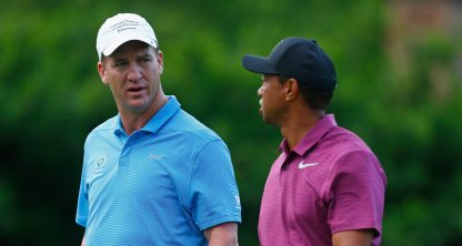 DUBLIN, OH - MAY 30: Former NFL player, Peyton Manning, speaks with Tiger Woods during the Pro-Am prior to The Memorial Tournament presented by Nationwide at Muirfield Village Golf Club on May 30, 2018 in Dublin, Ohio. (Photo by Matt Sullivan/Getty Images)