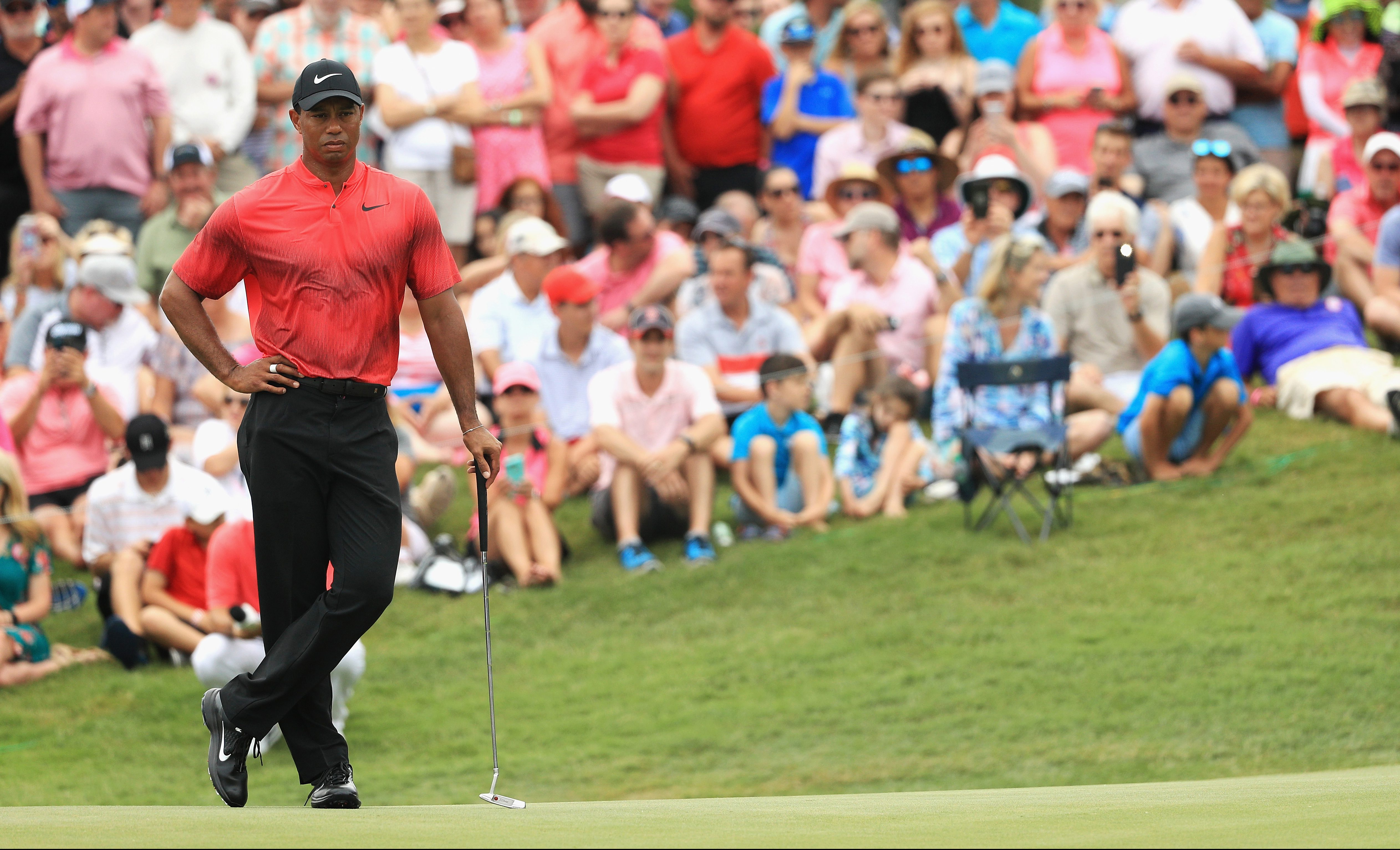 PONTE VEDRA BEACH, FL - MAY 13: Tiger Woods of the United States stands on the second green during the final round of THE PLAYERS Championship on the Stadium Course at TPC Sawgrass on May 13, 2018 in Ponte Vedra Beach, Florida. (Photo by Mike Ehrmann/Getty Images)