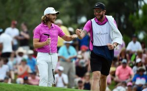 May 13, 2018; Ponte Vedra Beach, FL, USA; Tommy Fleetwood reacts with his caddie after a putt during the final round of The Players Championship golf tournament at TPC Sawgrass - Stadium Course. Mandatory Credit: Jasen Vinlove-USA TODAY Sports