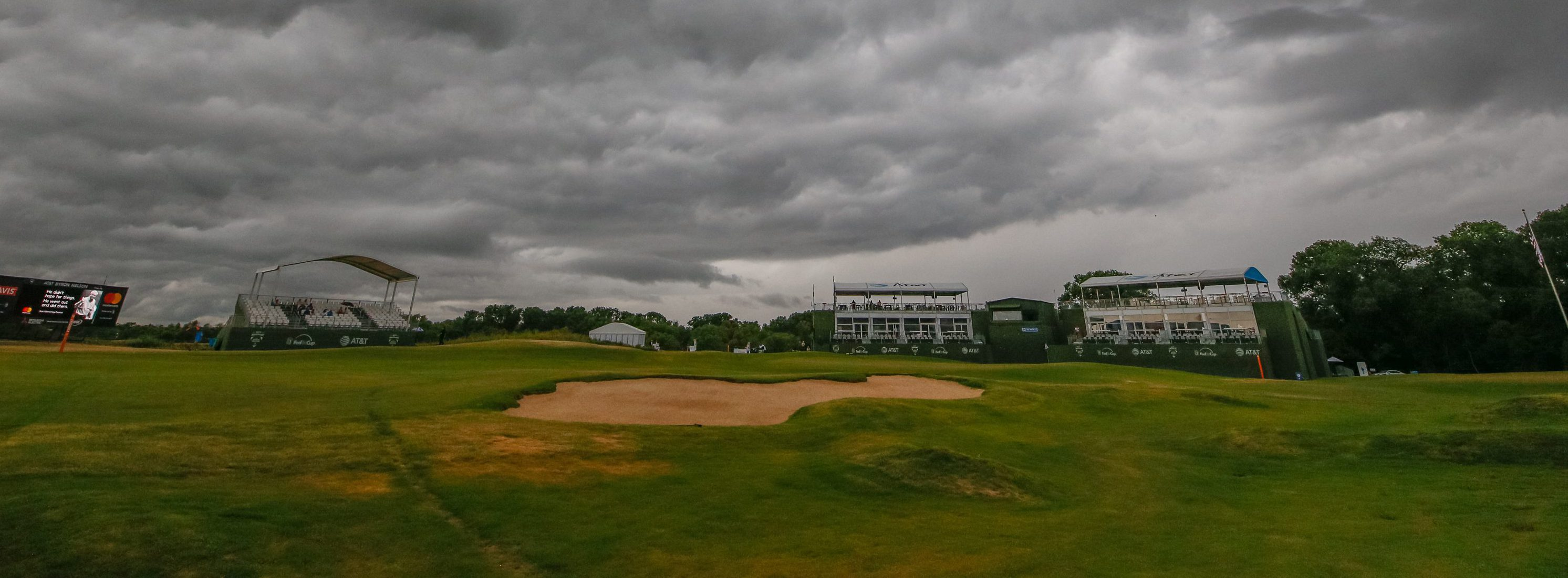 May 20, 2018; Dallas, TX, USA; Low clouds hang over the 18th hole, forcing at the time a one hour delay prior to the final round of the AT&T Byron Nelson golf tournament at Trinity Forest Golf Club. Mandatory Credit: Ray Carlin-USA TODAY Sports