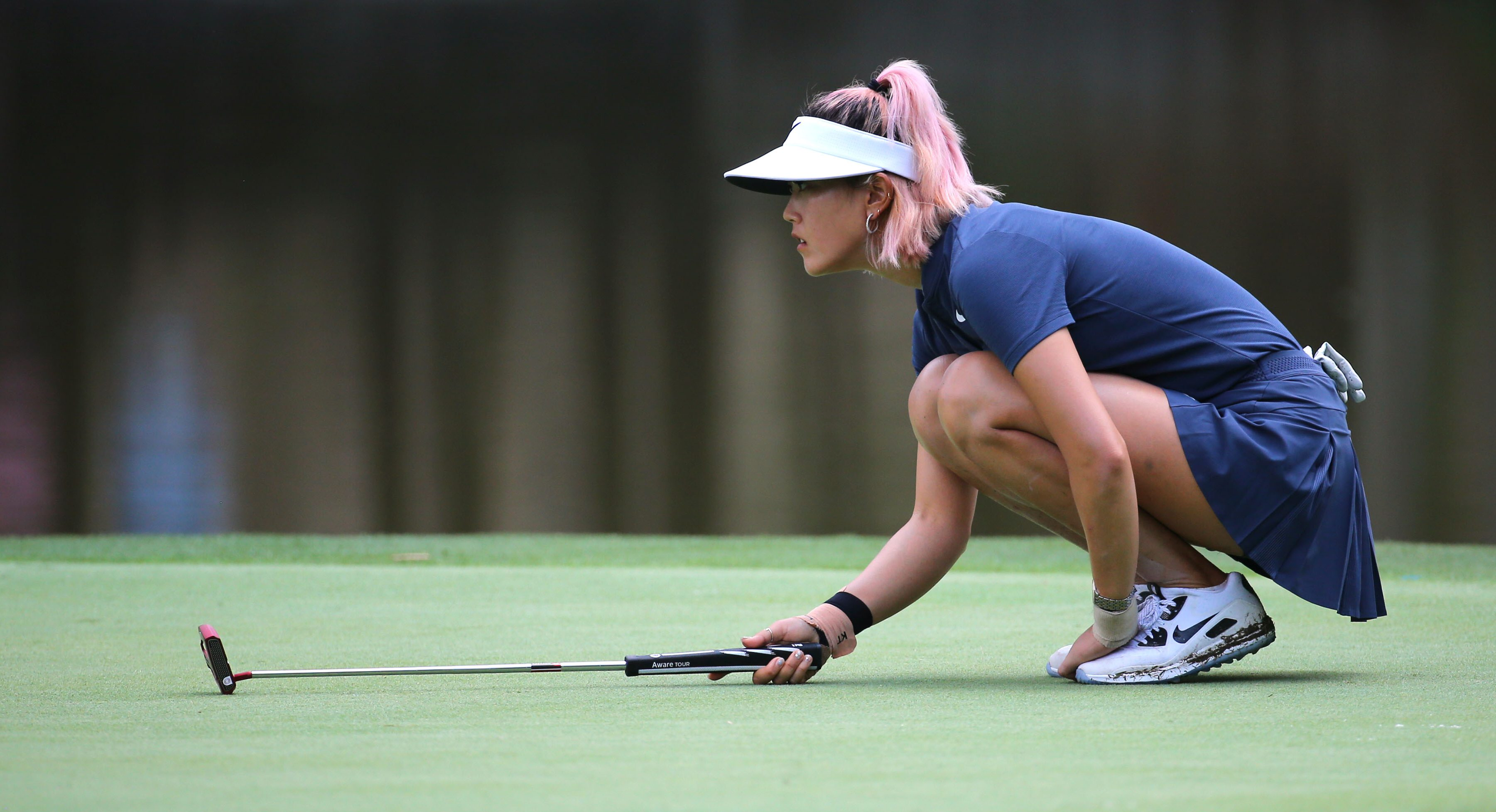 May 31, 2018; Shoal Creek, AL, USA; Michelle Wie lines up a putt on the ninth green during the first round of the U.S. Women's Open Championship golf tournament at Shoal Creek. Mandatory Credit: Jasen Vinlove-USA TODAY Sports