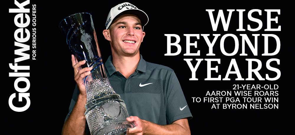 DALLAS, TX - MAY 20: Aaron Wise poses with the trophy after winning the AT&T Byron Nelson at Trinity Forest Golf Club on May 20, 2018 in Dallas, Texas. (Photo by Jared C. Tilton/Getty Images)