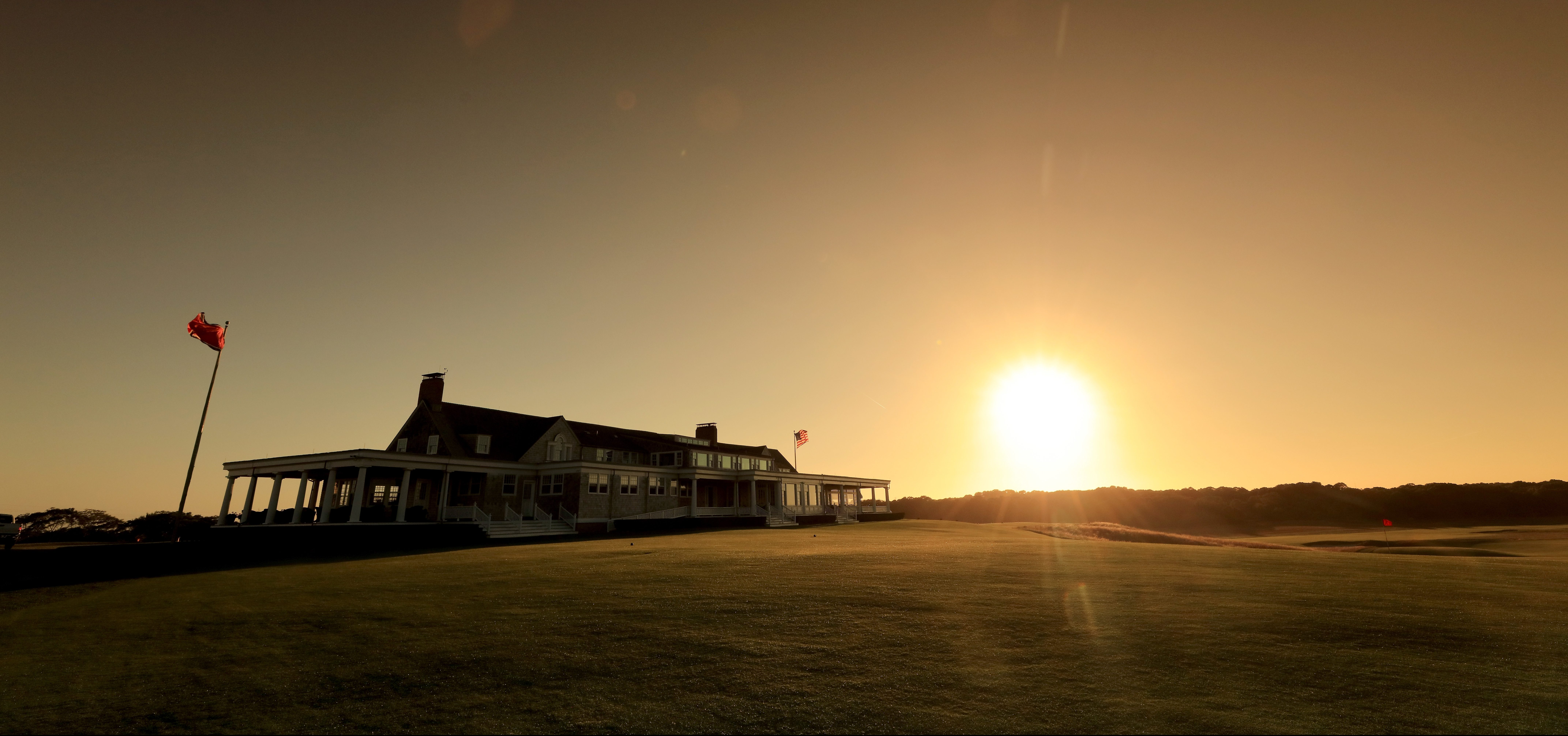SOUTHAMPTON, NY - OCTOBER 04: EDITORS NOTE: Polarising filter used on the camera in this image; The clubhouse at sunset at Shinnecock Hills Golf Club the host venue for the 2018 US Open Championship on October 4, 2017 in Southampton, New York. (Photo by David Cannon/Getty Images)