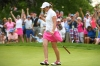 SCARSDALE, NY - JUNE 08: Paula Grant of Great Britian & Ireland celebrates after a birdie putt on the 18th green during four-ball matches on day one of the 2018 Curtis Cup at Quaker Ridge Golf Club on June 8, 2018 in Scarsdale, New York. (Photo by Ross Kinnaird/R&A/R&A via Getty Images)