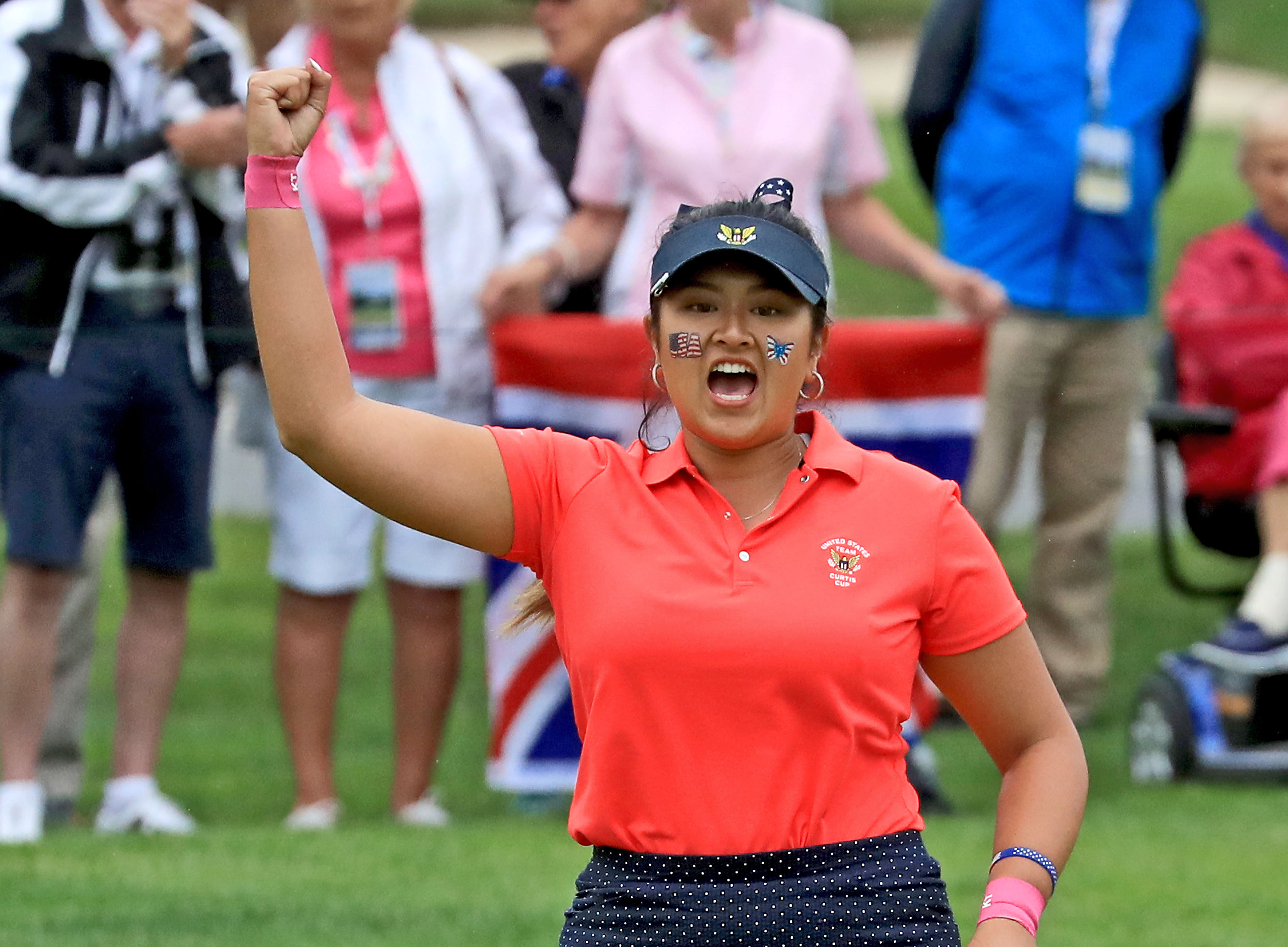 SCARSDALE, NY - JUNE 10: Lilia Vu of the United States team celebrates holing a birdoe putt on the 18th hole to win her match by one hole against Sophie Lamb of the Great Britain and Ireland team during the final day singles matches in the 2018 Curtis Cup Match at Quaker Ridge Golf Club on June 10, 2018 in Scarsdale, New York. (Photo by David Cannon/Getty Images)