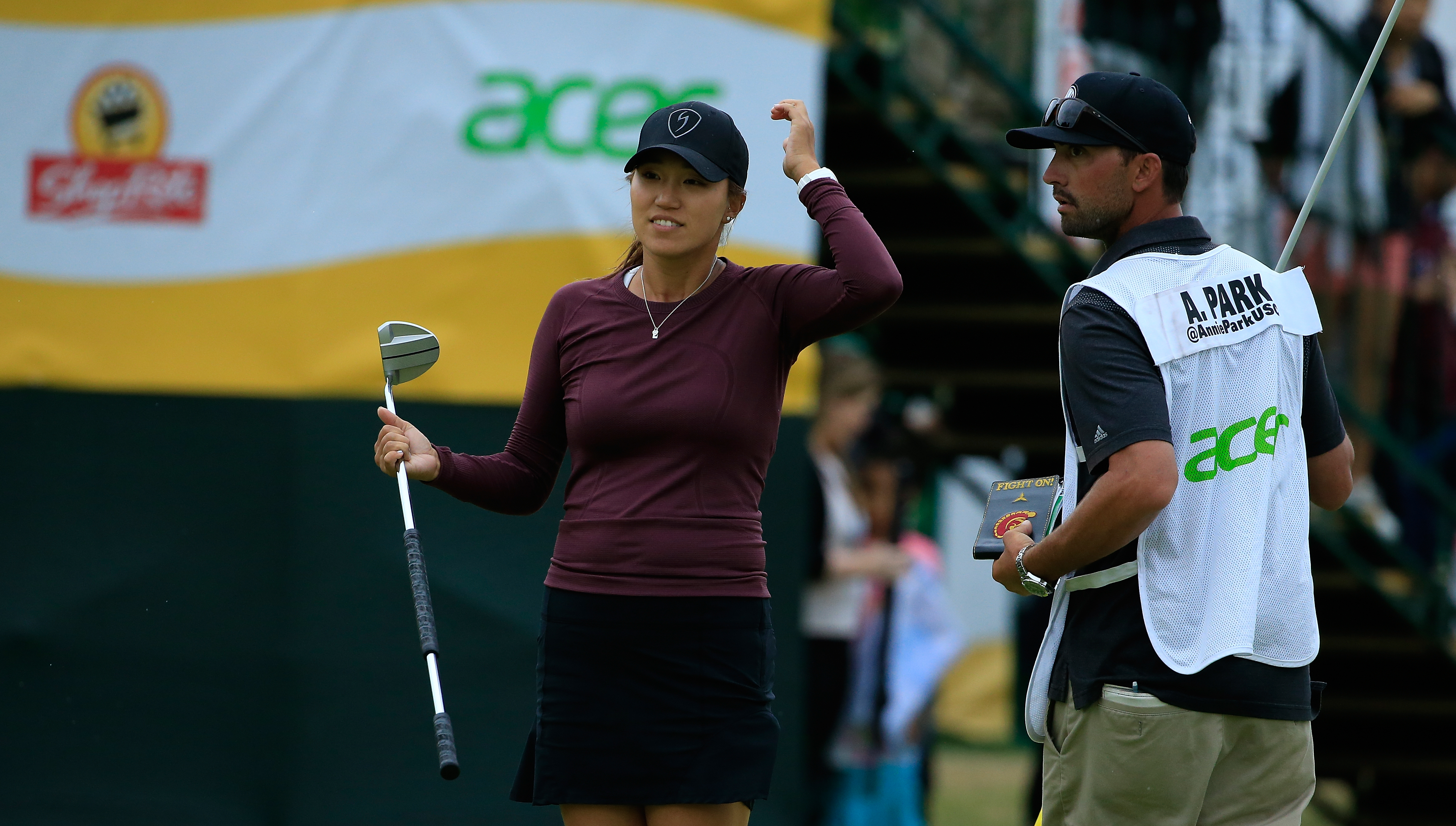 GALLOWAY, NJ - JUNE 10: Annie Park arrives at the 18th green the during the third and final round of the ShopRite LPGA Classic Presented by Acer on the Bay Course at Stockton Seaview Hotel and Golf Club on June 10, 2018 in Galloway, New Jersey. (Photo by Michael Cohen/Getty Images)