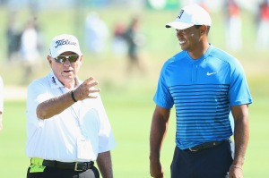 ON, NY - JUNE 12: Butch Harmon, golf instructor, talks with Tiger Woods of the United States during a practice round prior to the 2018 U.S. Open at Shinnecock Hills Golf Club on June 12, 2018 in Southampton, New York. (Photo by Warren Little/Getty Images)