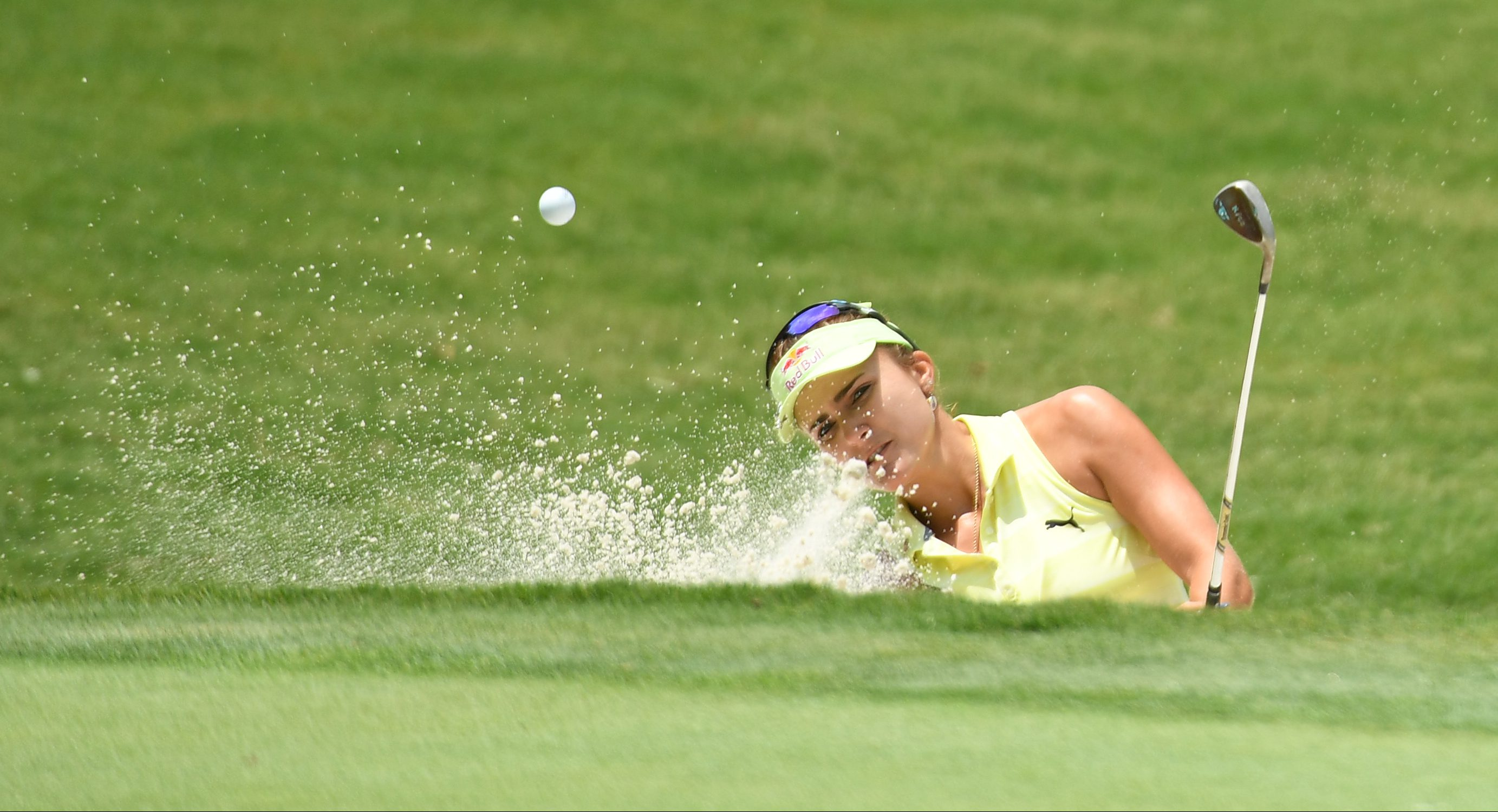 May 31, 2018; Shoal Creek, AL, USA; Lexi Thompson hits from the sand on to the seventh green during the first round of the U.S. Women's Open Championship golf tournament at Shoal Creek. Mandatory Credit: John David Mercer-USA TODAY Sports