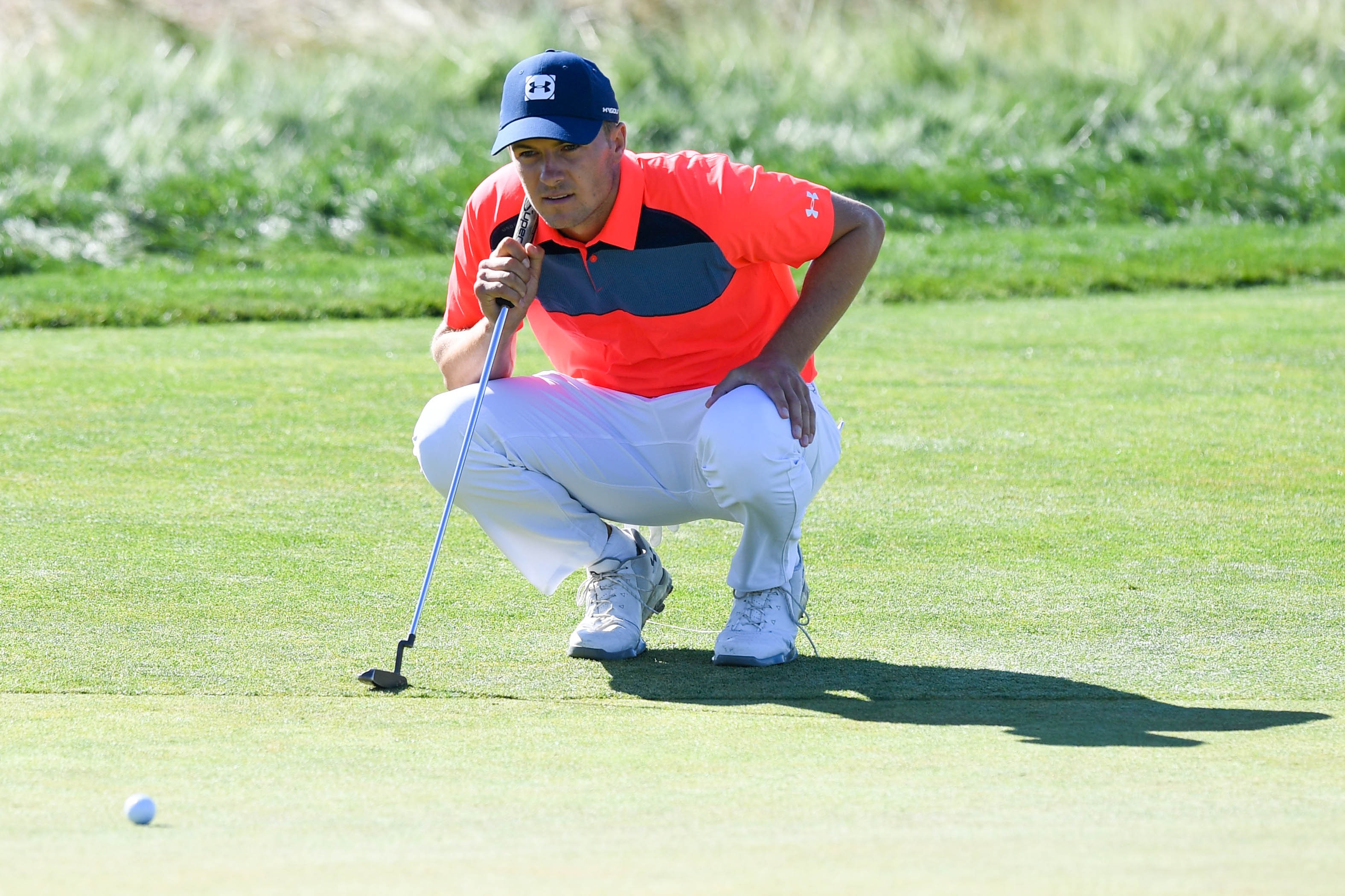 Jun 14, 2018; Southampton, NY, USA; Jordan Spieth lines up a putt on the twelfth green during the first round of the U.S. Open golf tournament at Shinnecock Hills GC - Shinnecock Hills Golf C. Mandatory Credit: Dennis Schneidler-USA TODAY Sports