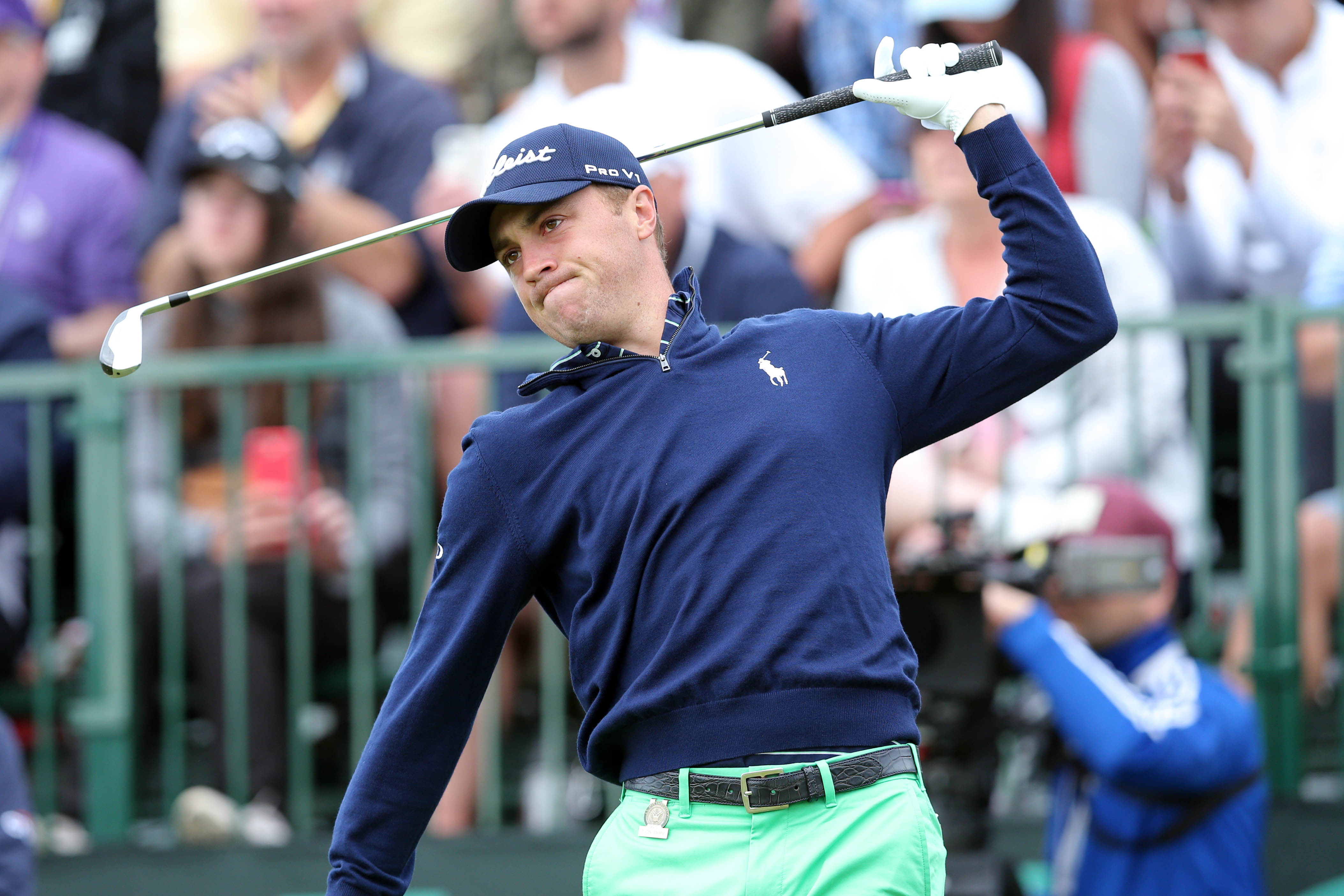 Jun 15, 2018; Southampton, NY, USA; Justin Thomas reacts after he tees off the tenth hole during the second round of the U.S. Open golf tournament at Shinnecock Hills GC - Shinnecock Hills Golf C. Mandatory Credit: Brad Penner-USA TODAY Sports