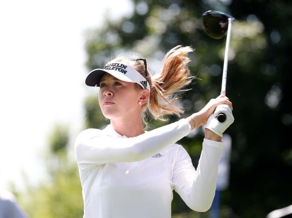 Jun 28, 2018; Kildeer, IL, USA; Jessica Korda hits her tee shot on the 8th hole during the first round of the KPMG Women's PGA Championship golf tournament at Kemper Lakes Golf Club. Mandatory Credit: Brian Spurlock-USA TODAY Sports