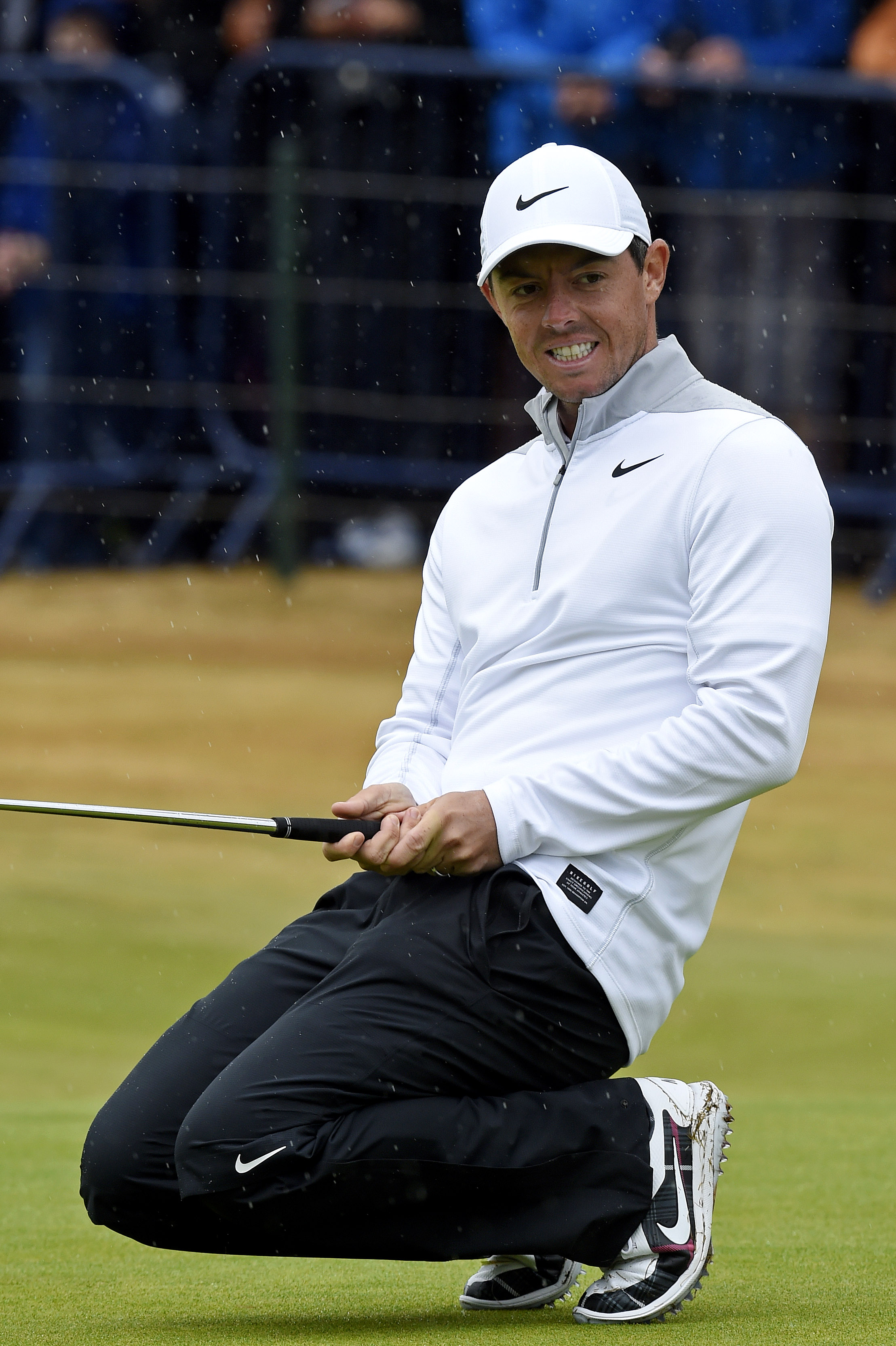 Jul 20, 2018; Carnoustie, SCT; Rory McIlroy reacts to his putt on the 18th green during the second round of The Open Championship golf tournament at Carnoustie Golf Links. Mandatory Credit: Ian Rutherford-USA TODAY Sports