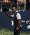 Jul 21, 2018; Carnoustie, SCT; Tiger Woods waves to the gallery on the 18th green during the third round of The Open Championship golf tournament at Carnoustie Golf Links. Mandatory Credit: Thomas J. Russo-USA TODAY Sports