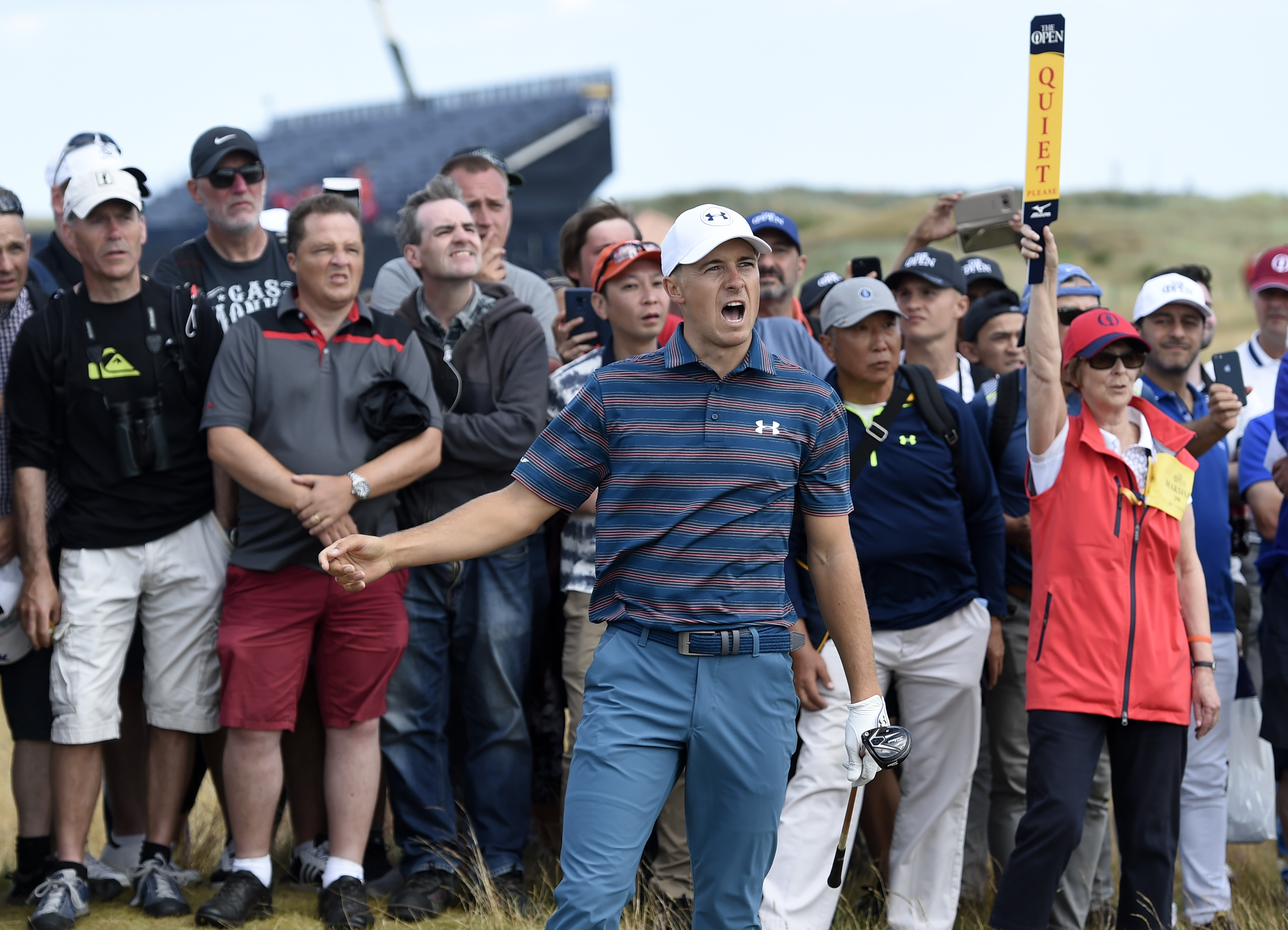 Jul 22, 2018; Carnoustie, Angus, SCT; Jordan Spieth reacts after playing a shot from the rough on the sixth hole during the final round of The Open Championship golf tournament at Carnoustie Golf Links. Mandatory Credit: Ian Rutherford-USA TODAY Sports