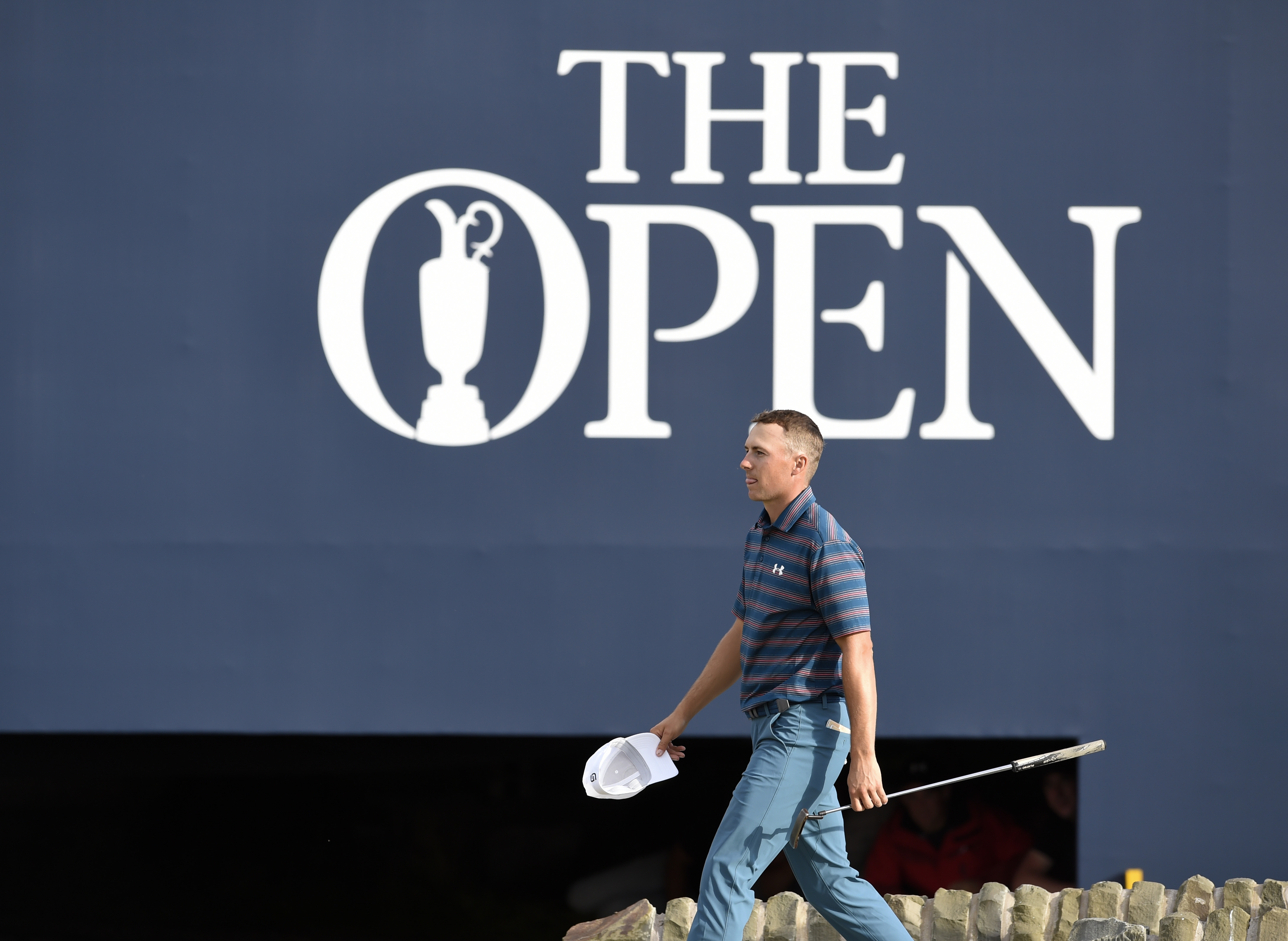 Jul 22, 2018; Carnoustie, Angus, SCT; Jordan Spieth walks to the 18th hole during the final round of The Open Championship golf tournament at Carnoustie Golf Links. Mandatory Credit: Ian Rutherford-USA TODAY Sports