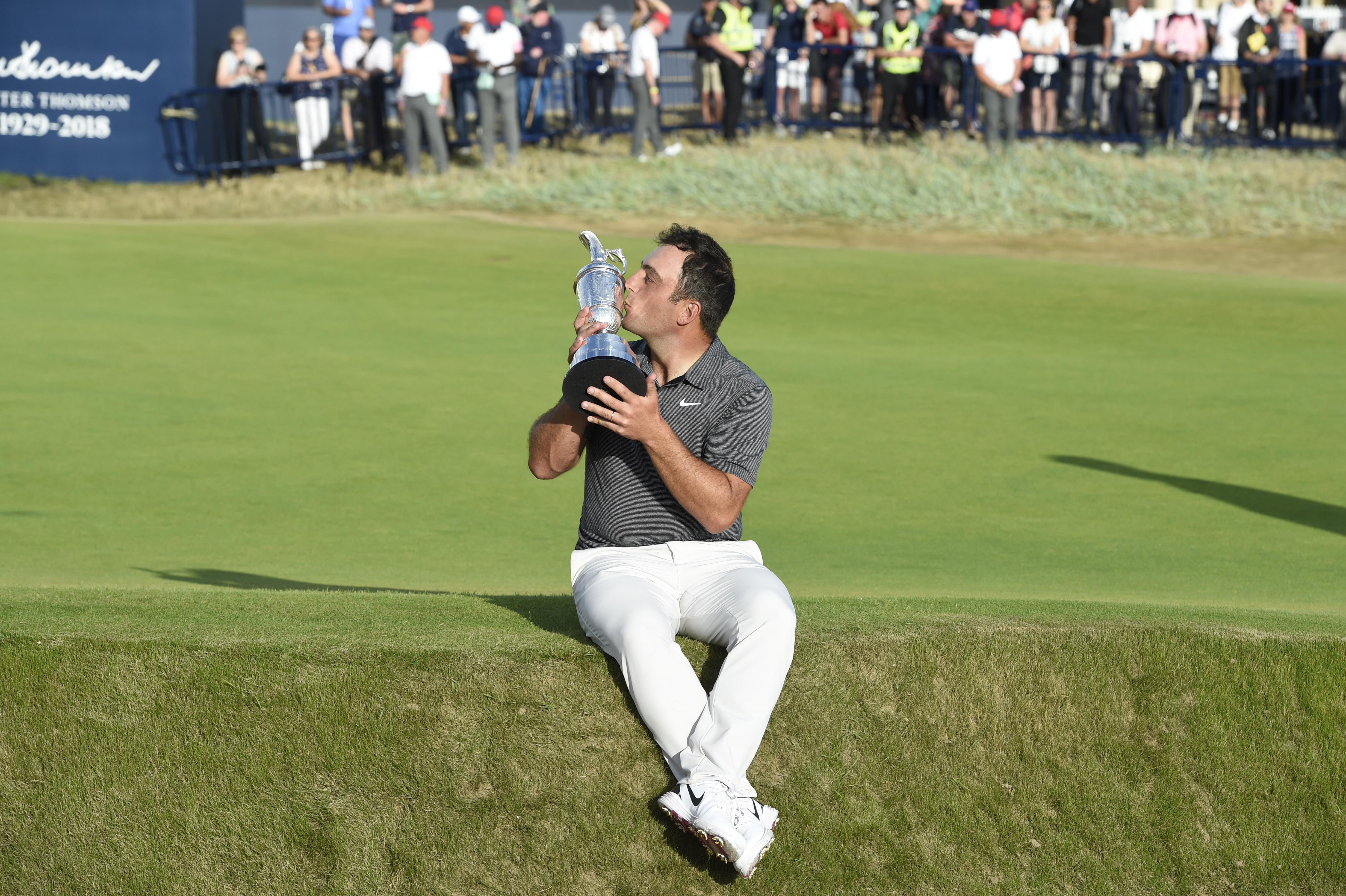 Jul 22, 2018; Carnoustie, Angus, SCT; Francesco Molinari holds the Claret Jug and poses for a photo after winning the Open Championship golf tournament at Carnoustie Golf Links. Mandatory Credit: Ian Rutherford-USA TODAY Sports