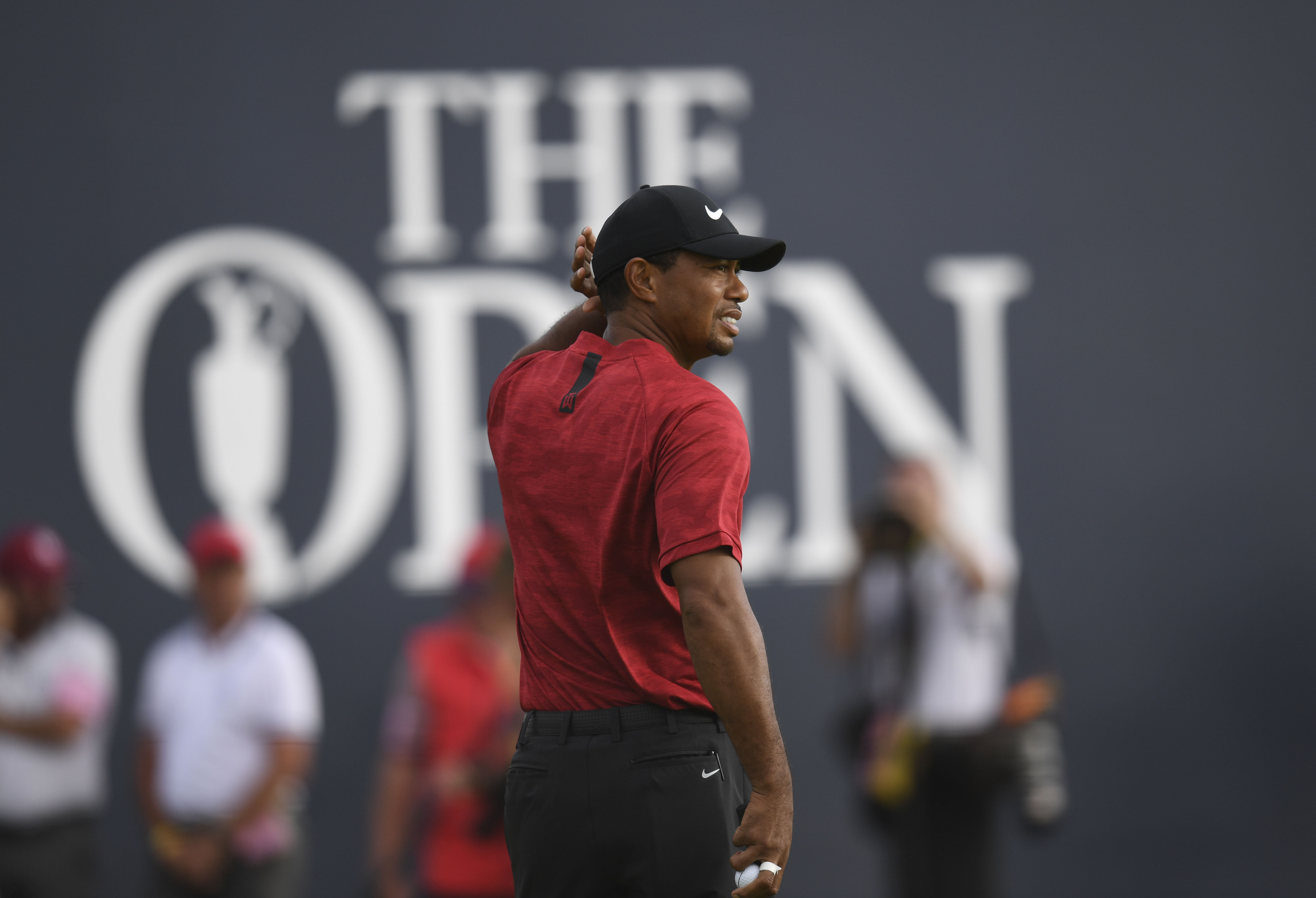 Jul 22, 2018; Carnoustie, Angus, SCT; Tiger Woods looks back on the 18th green after finishing his  final round of The Open Championship golf tournament at Carnoustie Golf Links. Mandatory Credit: Thomas J. Russo-USA TODAY Sports