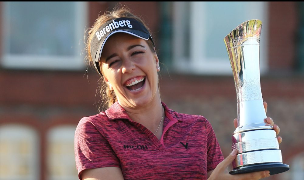 Georgia Hall of Great Britain poses with the trophy after winning the 2018 Women's British Open Golf Championships at Royal Lytham and St Annes Golf Club, north west England, on August 5, 2018. (Photo by Lindsey PARNABY / AFP) (Photo credit should read LINDSEY PARNABY/AFP/Getty Images)