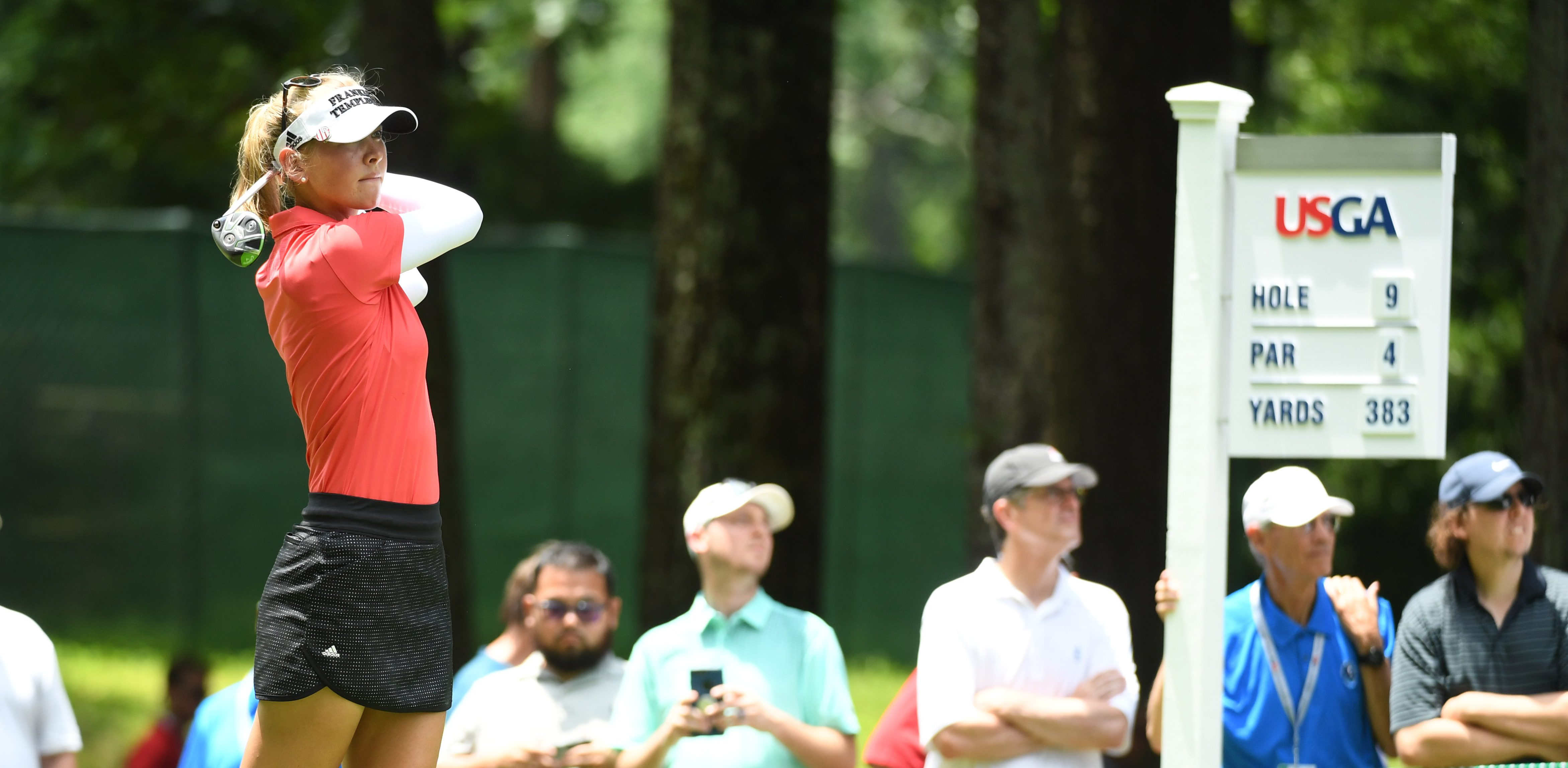 May 31, 2018; Shoal Creek, AL, USA; Jessica Korda hits from the ninth tee during the first round of the U.S. Women's Open Championship golf tournament at Shoal Creek. Mandatory Credit: John David Mercer-USA TODAY Sports