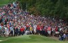 Aug 12, 2018; Saint Louis, MO, USA; Tiger Woods hits from out of the gallery along a cart path on the 9th hole during the final round of the PGA Championship golf tournament at Bellerive Country Club. Mandatory Credit: Kyle Terada-USA TODAY Sports