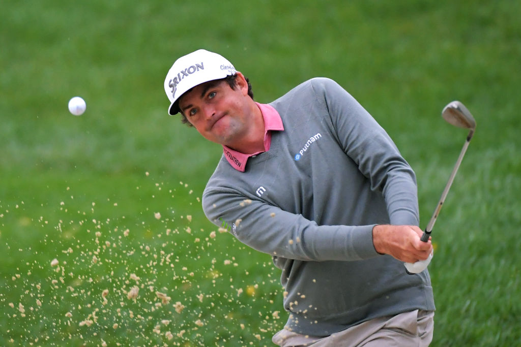 NEWTOWN SQUARE, PA - SEPTEMBER 10: Keegan Bradley plays a shot from the bunker on the third hole during the weather-delayed final round of the BMW Championship at Aronimink Golf Club on September 10, 2018 in Newtown Square, Pennsylvania. (Photo by Drew Hallowell/Getty Images)
