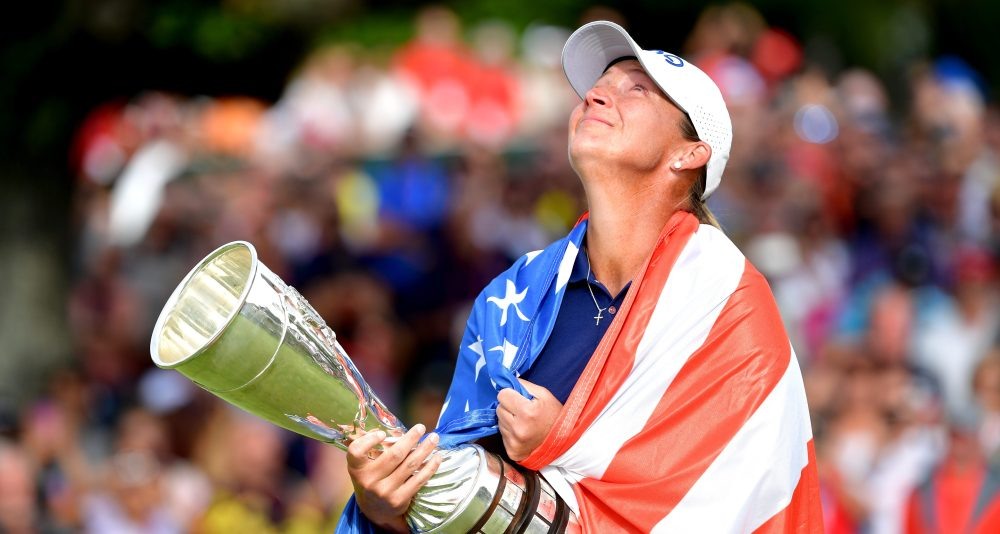 EVIAN-LES-BAINS, FRANCE - SEPTEMBER 16: Angela Stanford of the United States celebrates winning the Evian Championship with the trophy during Day Four of The Evian Championship 2018 at Evian Resort Golf Club on September 16, 2018 in Evian-les-Bains, France. (Photo by Stuart Franklin/Getty Images)