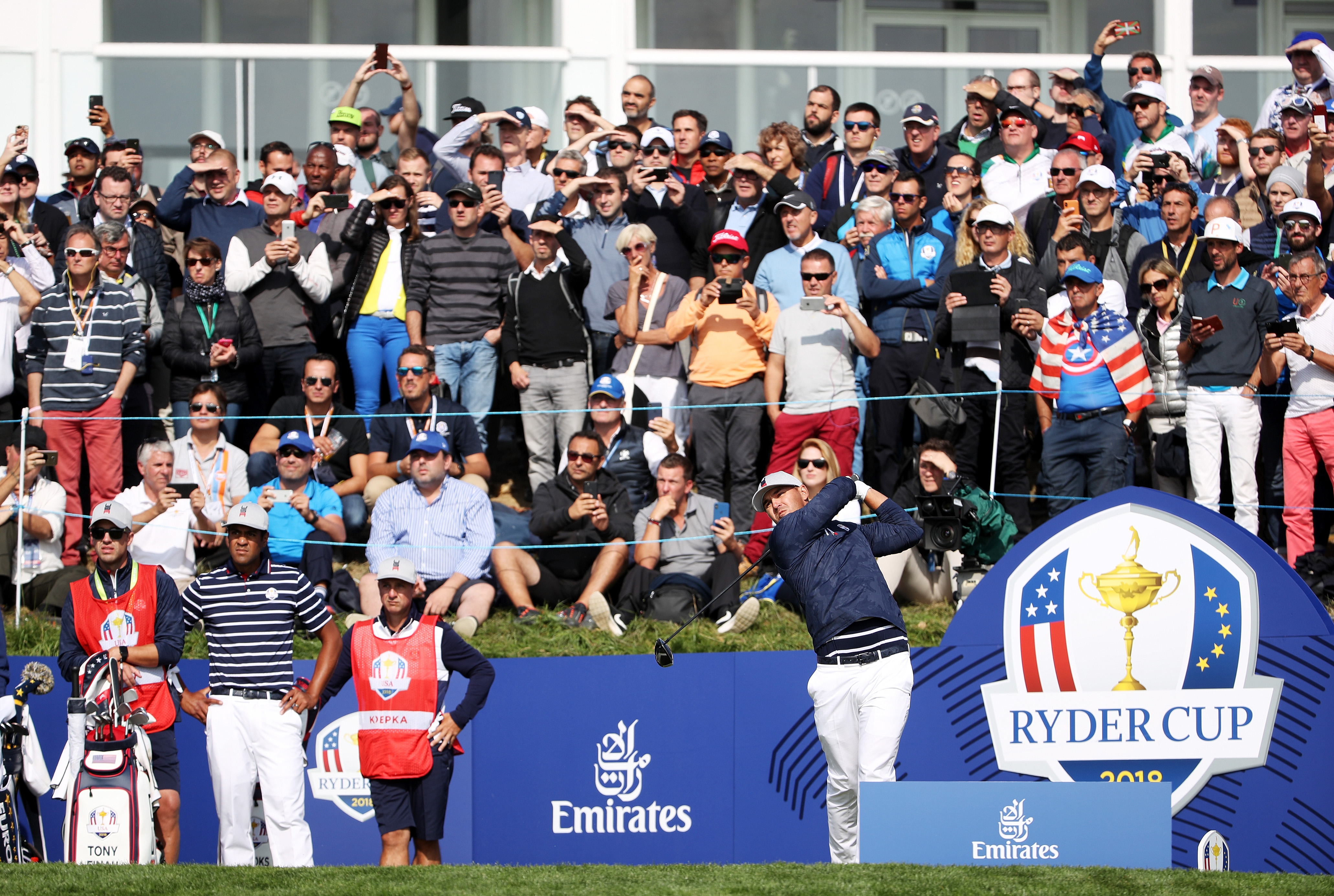 PARIS, FRANCE - SEPTEMBER 28: Brooks Koepka of the United States plays his shot from the 17th tee  during the morning fourball matches of the 2018 Ryder Cup at Le Golf National on September 28, 2018 in Paris, France.  (Photo by Christian Petersen/Getty Images)