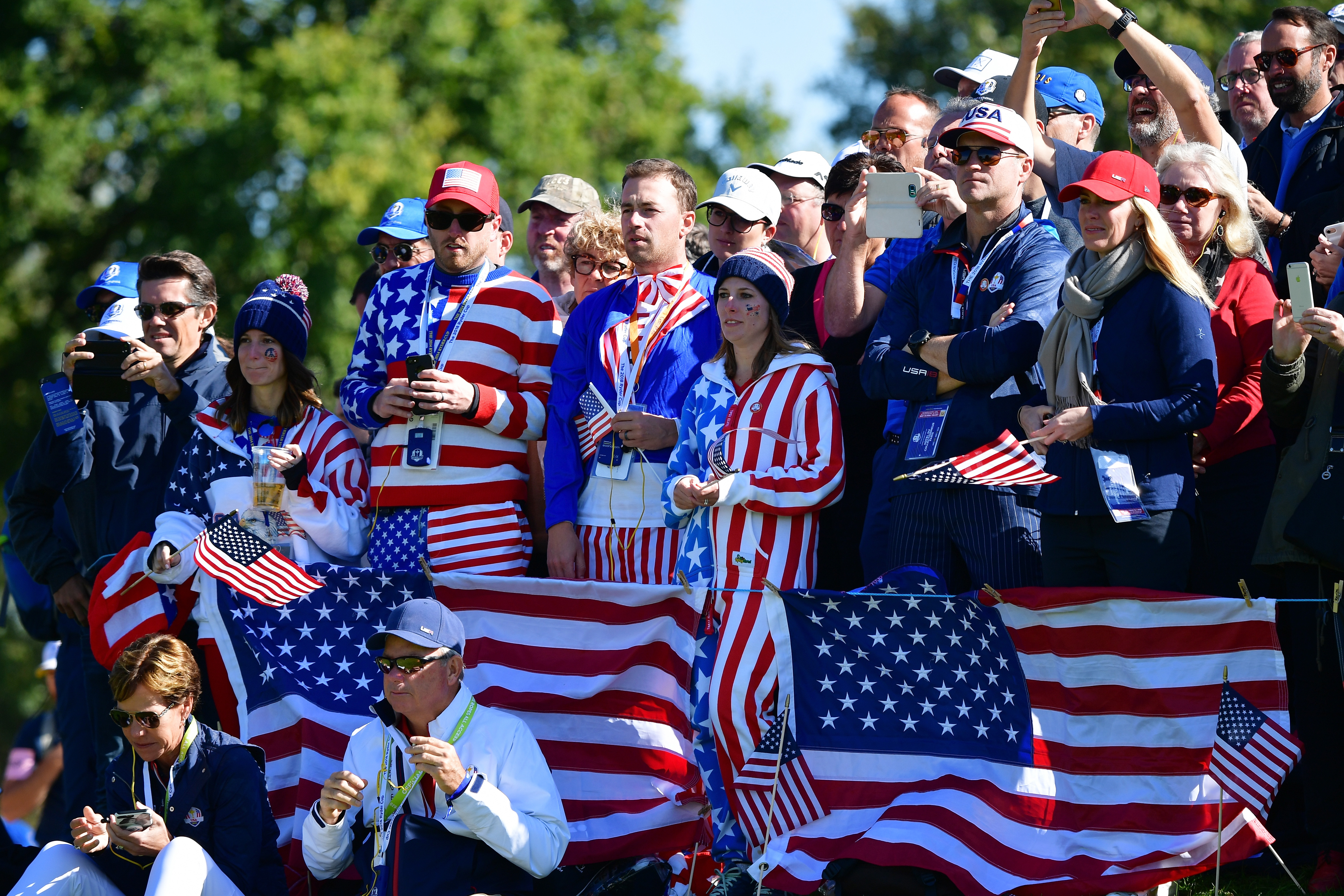 PARIS, FRANCE - SEPTEMBER 30: USA fans watch on during singles matches of the 2018 Ryder Cup at Le Golf National on September 30, 2018 in Paris, France. (Photo by Stuart Franklin/Getty Images)