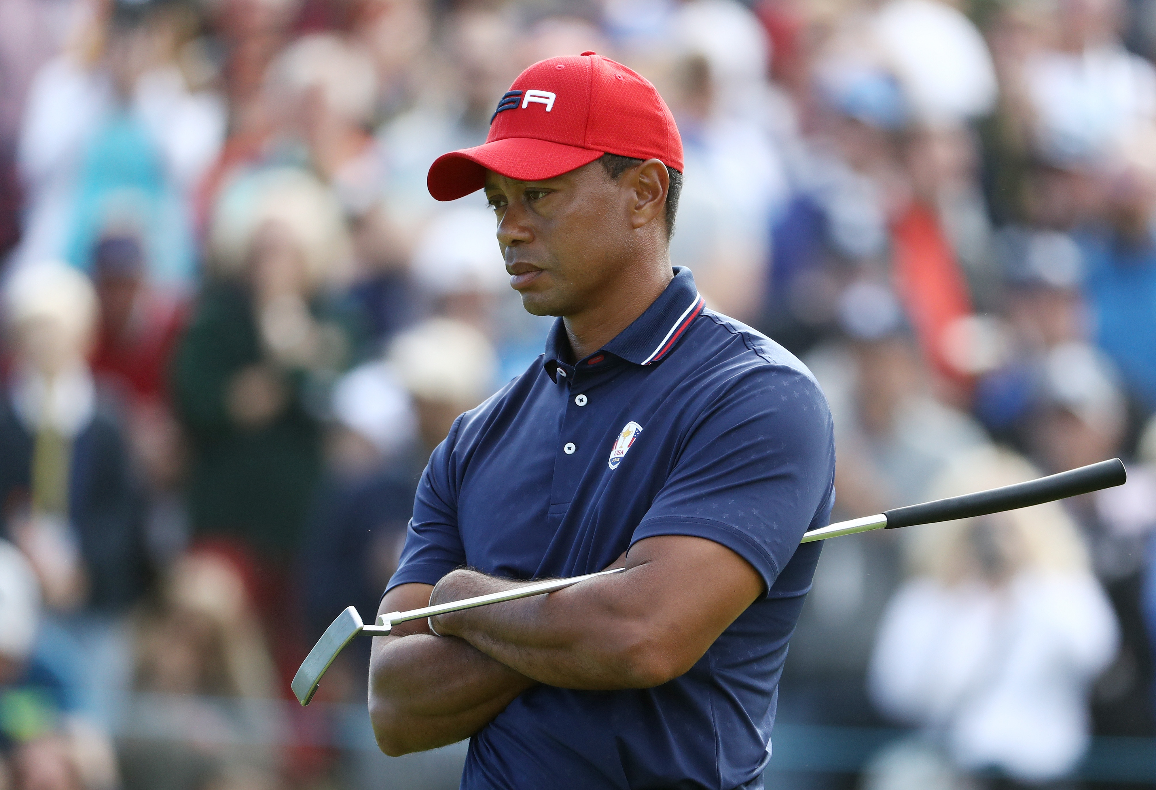 PARIS, FRANCE - SEPTEMBER 30: Tiger Woods of the United States reacts during singles matches of the 2018 Ryder Cup at Le Golf National on September 30, 2018 in Paris, France. (Photo by Jamie Squire/Getty Images)