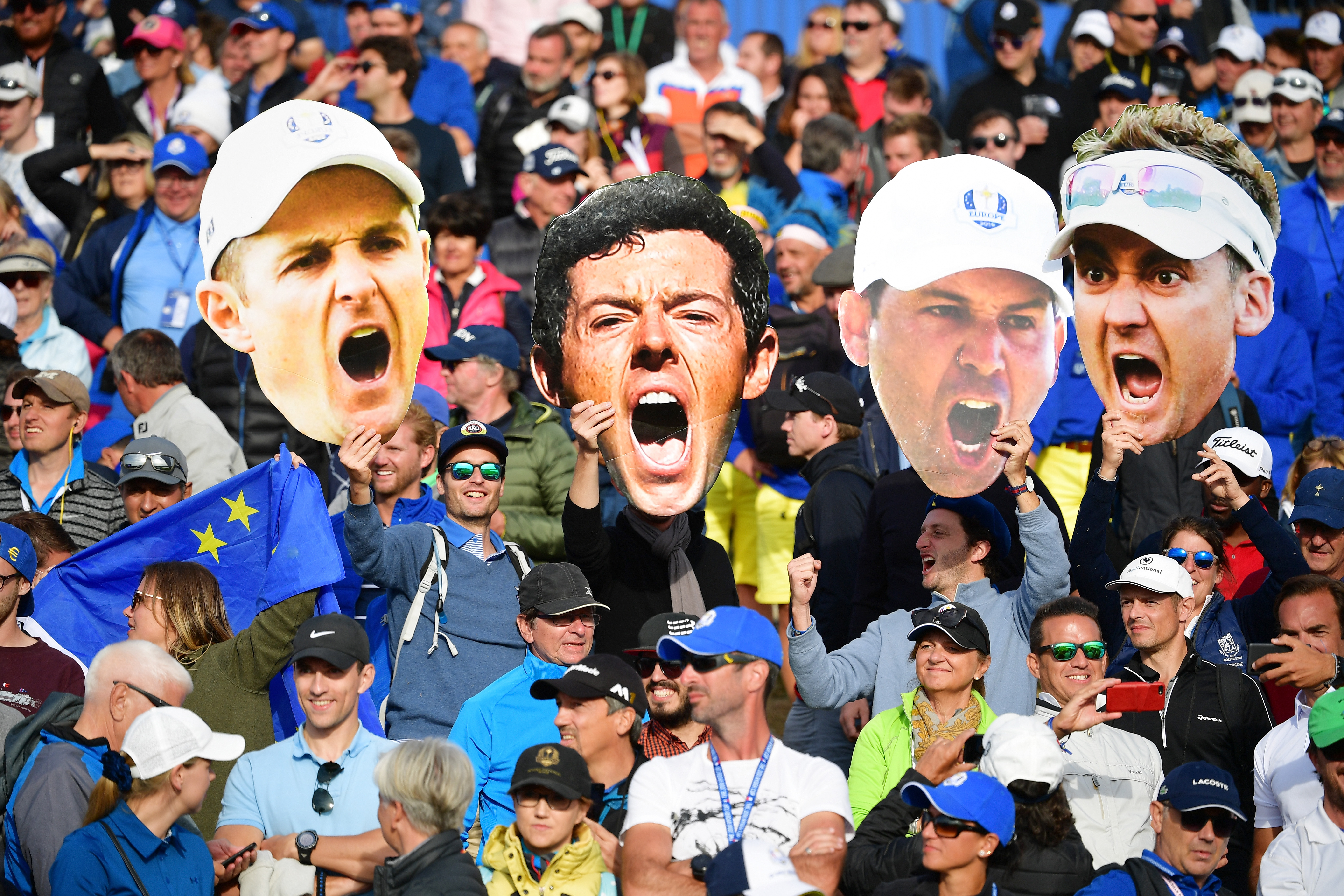 PARIS, FRANCE - SEPTEMBER 30: European fans celebrate during singles matches of the 2018 Ryder Cup at Le Golf National on September 30, 2018 in Paris, France. (Photo by Stuart Franklin/Getty Images)