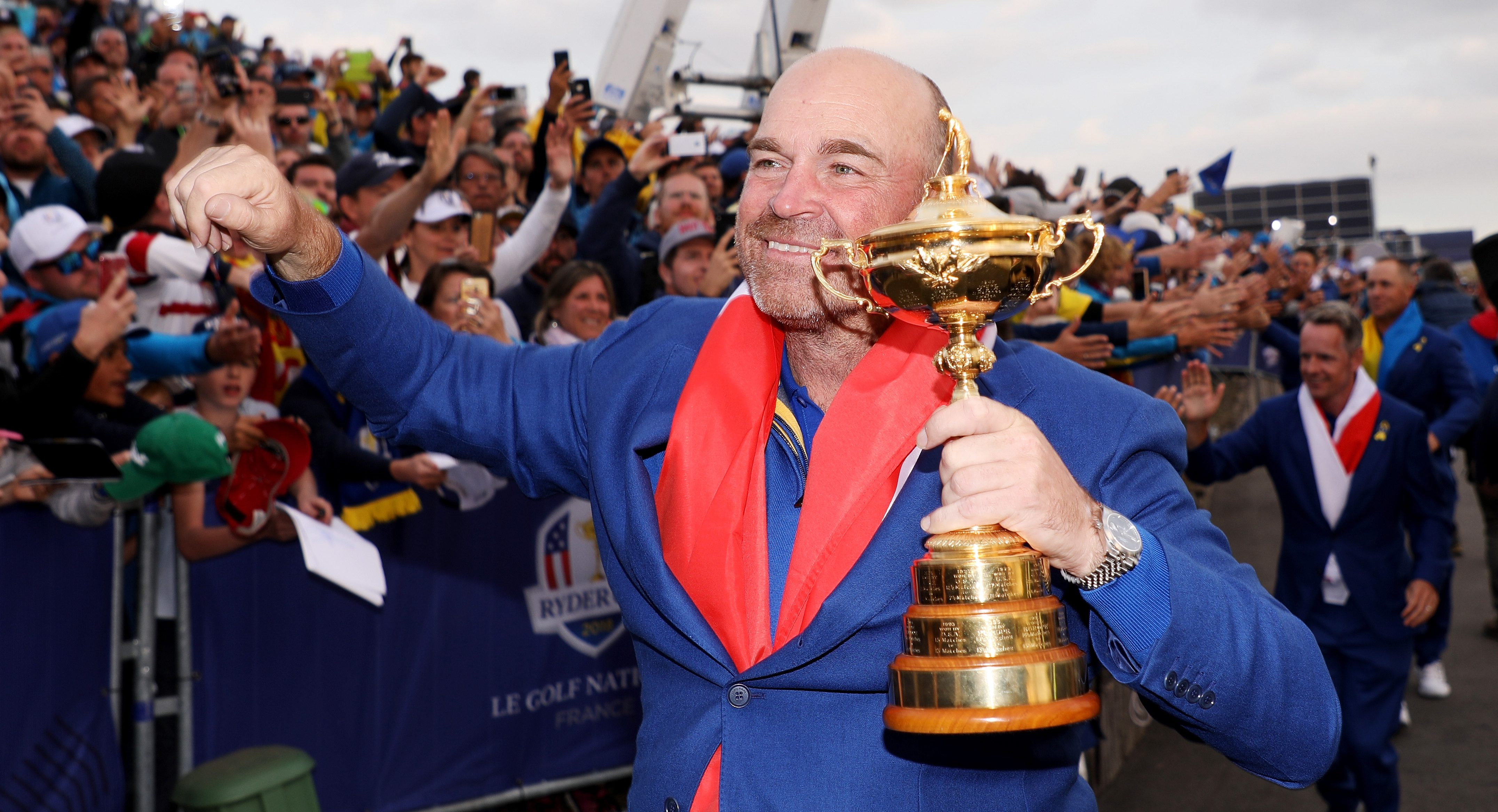 PARIS, FRANCE - SEPTEMBER 30: Captain Thomas Bjorn of Europe celebrates with The Ryder Cup after singles matches of the 2018 Ryder Cup at Le Golf National on September 30, 2018 in Paris, France. (Photo by Christian Petersen/Getty Images)