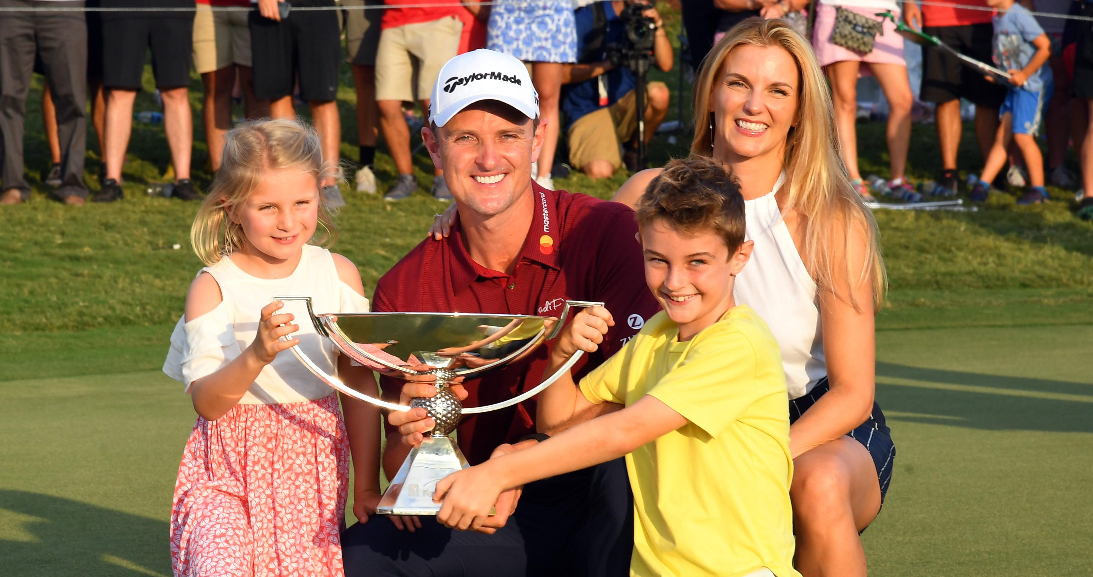 Sep 23, 2018; Atlanta, GA, USA; Justin Rose poses with his family with the FedEx Cup after the Tour Championship golf tournament at East Lake Golf Club. Mandatory Credit: Christopher Hanewinckel-USA TODAY Sports