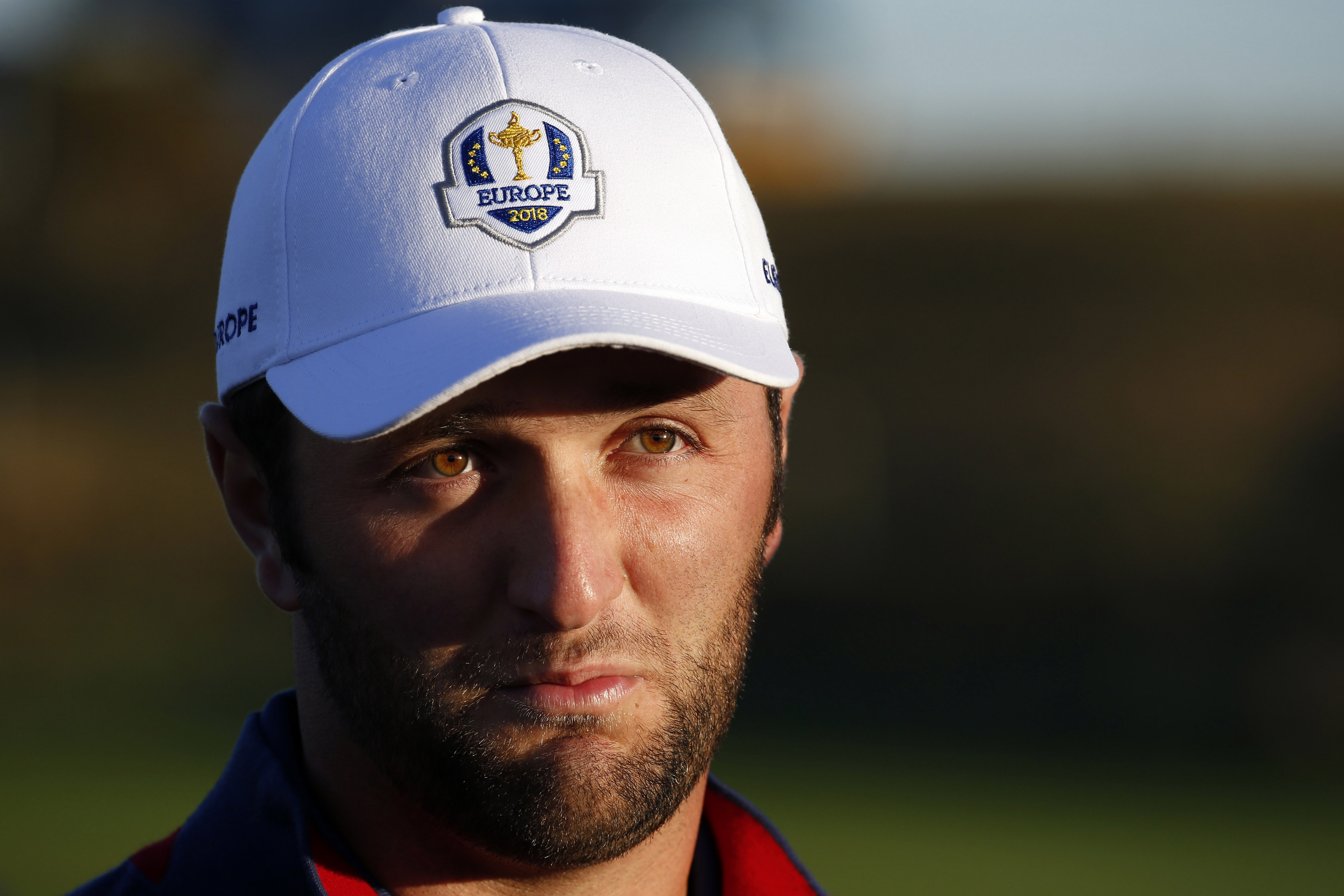 Sep 25, 2018; Paris, FRA; European golfer Jon Rahm stands in the 10th fairway during a Ryder Cup practice round at Le Golf National. Mandatory Credit: Brian Spurlock-USA TODAY Sports