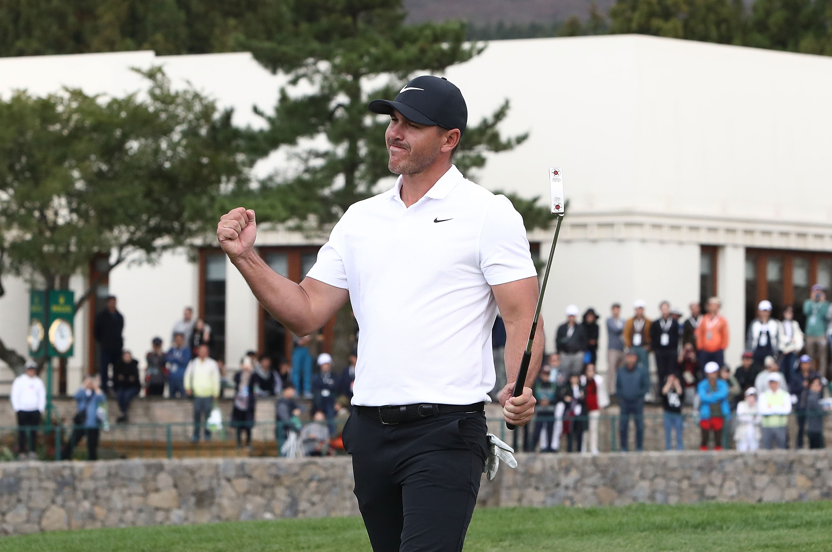 JEJU, SOUTH KOREA - OCTOBER 21: Brooks Koepka of United States celebrates after wining putt on the 18th green during the final round of the CJ Cup at the Nine Bridges on October 21, 2018 in Jeju, South Korea. (Photo by Chung Sung-Jun/Getty Images)