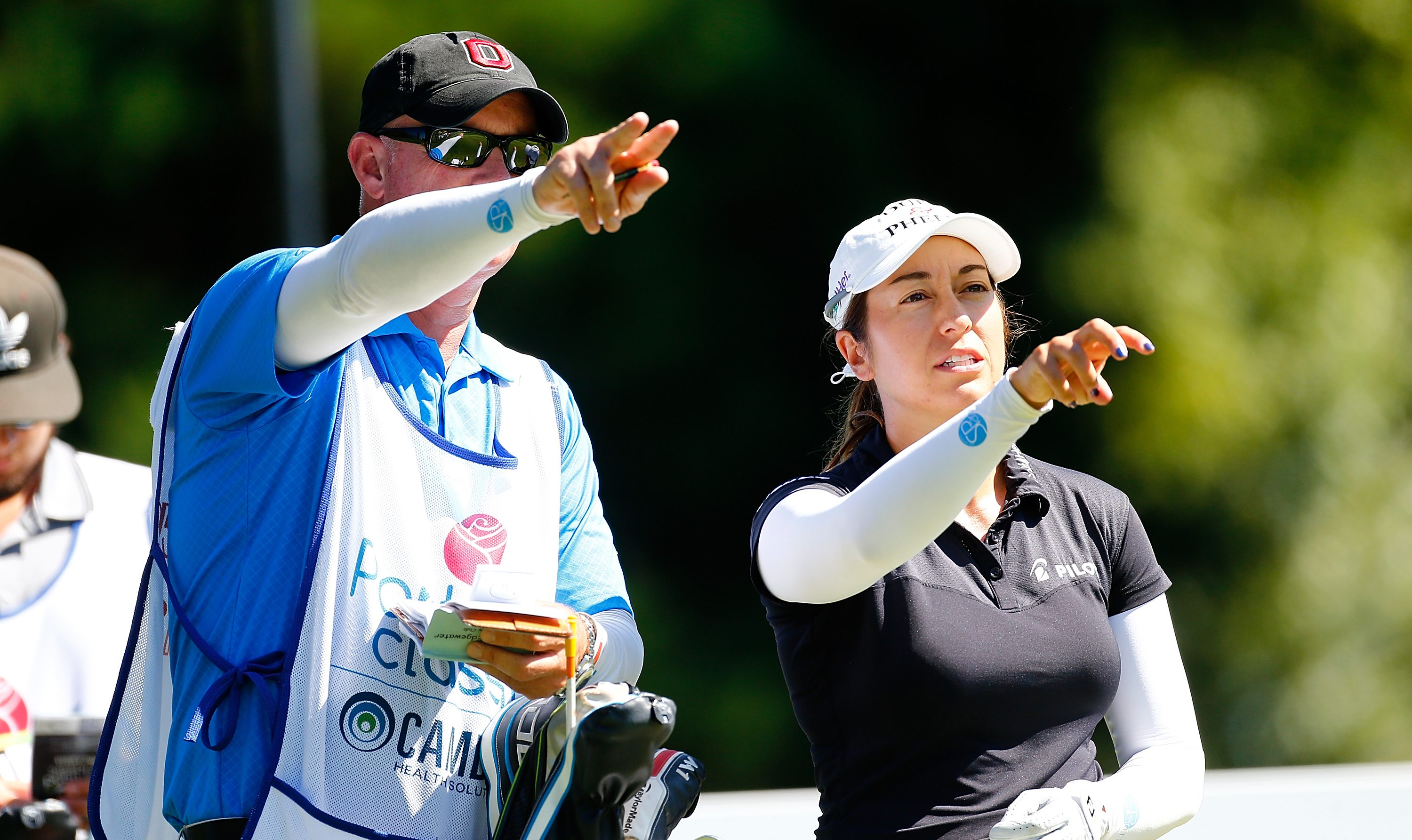 PORTLAND, OR - SEPTEMBER 02: Marina Alex talks to ner caddie on the 2nd hole during the final round of the LPGA Cambia Portland Classic at Columbia Edgewater Country Club on September 2, 2018 in Portland, Oregon. (Photo by Jonathan Ferrey/Getty Images)