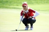 INCHEON, SOUTH KOREA - OCTOBER 07: Michelle Wie of the United States lines up for a putt on the 3rd green during the Singles match against Moriya Jutanugarn of Thailand on day four of the UL International Crown at Jack Nicklaus Golf Club on October 7, 2018 in Incheon, South Korea. (Photo by Chung Sung-Jun/Getty Images)