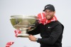 ST ANDREWS, SCOTLAND - OCTOBER 07: Lucas Bjerregaard of Denmark celebrates with the winners trophy on the Swilken bridge following his victory on day four of the 2018 Alfred Dunhill Links Championship at The Old Course on October 7, 2018 in St Andrews, Scotland. (Photo by Ross Kinnaird/Getty Images)